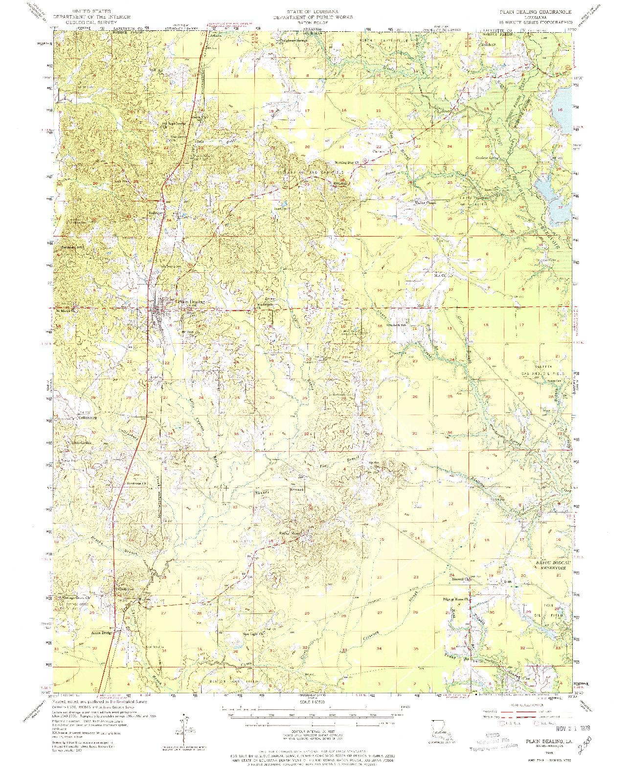 USGS 1:62500-SCALE QUADRANGLE FOR PLAIN DEALING, LA 1955