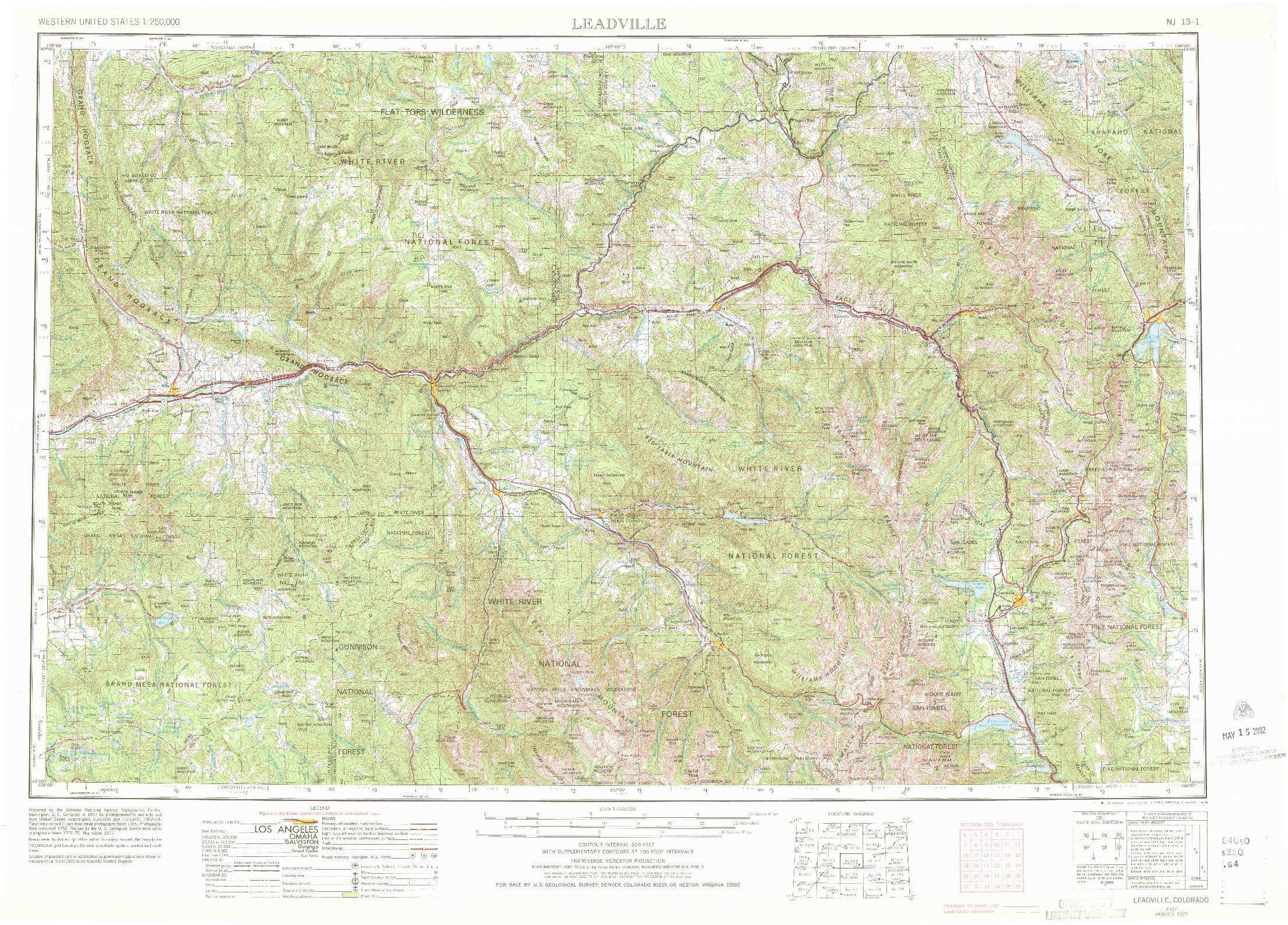 USGS 1:250000-SCALE QUADRANGLE FOR LEADVILLE, CO 1957