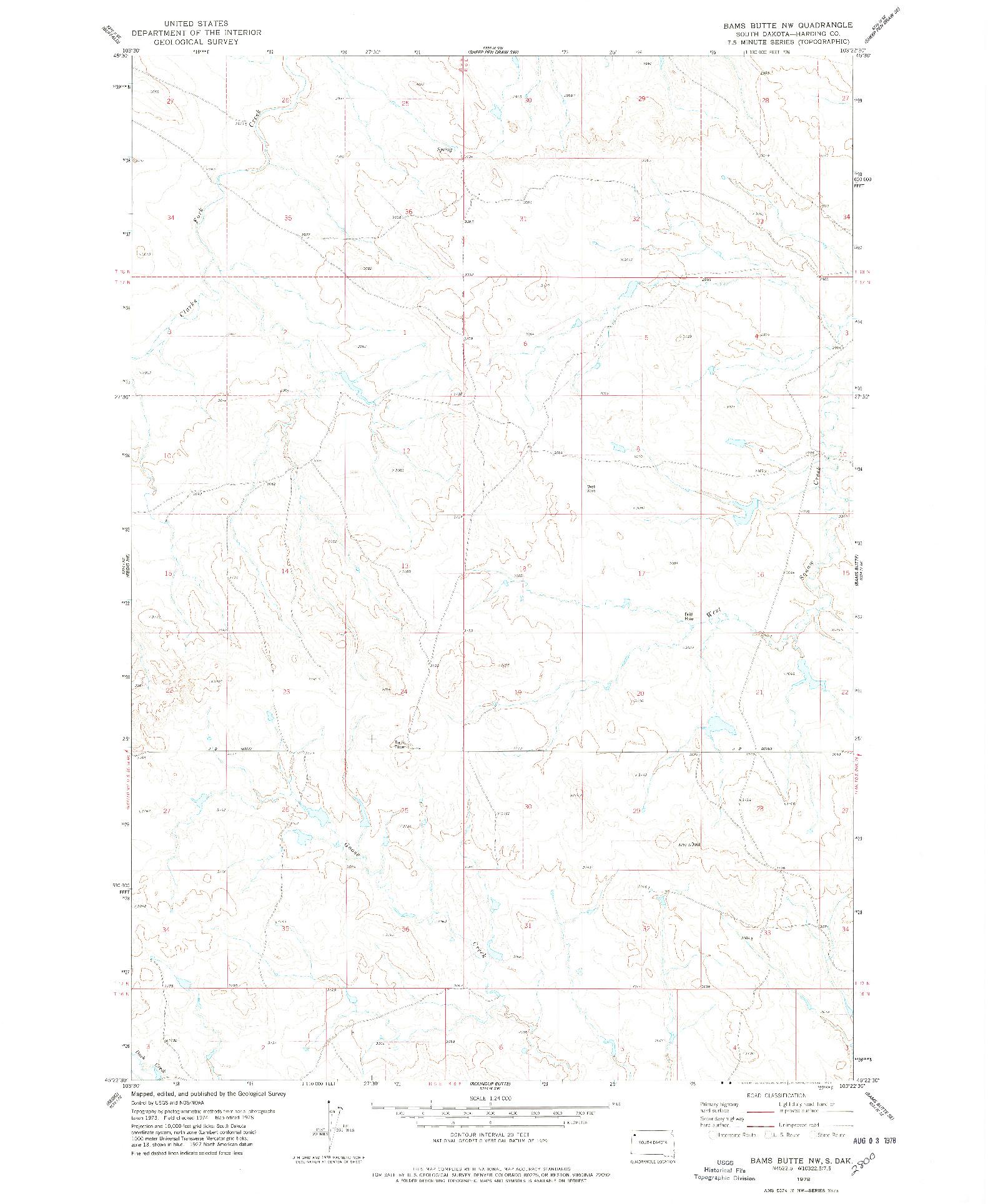 USGS 1:24000-SCALE QUADRANGLE FOR BAMS BUTTE NW, SD 1978