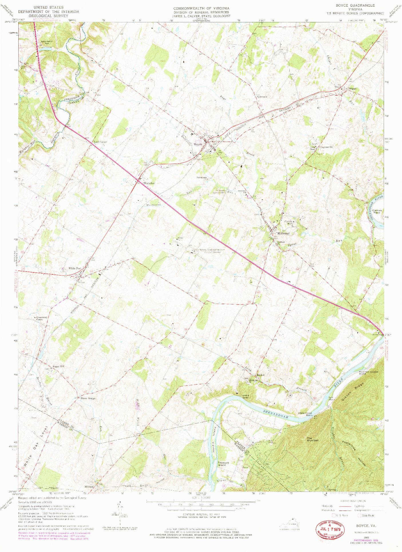 USGS 1:24000-SCALE QUADRANGLE FOR BOYCE, VA 1966
