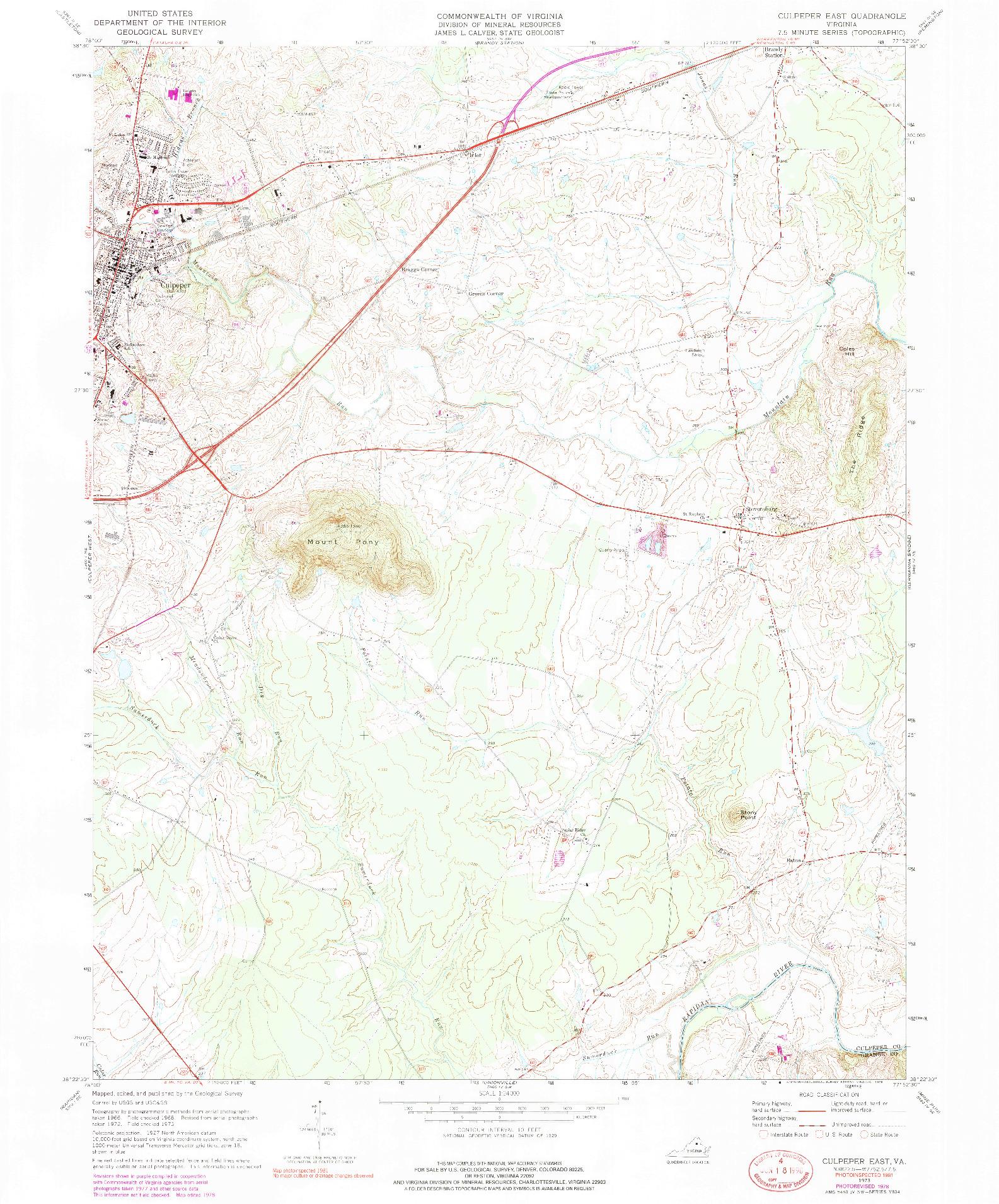 USGS 1:24000-SCALE QUADRANGLE FOR CULPEPER EAST, VA 1973