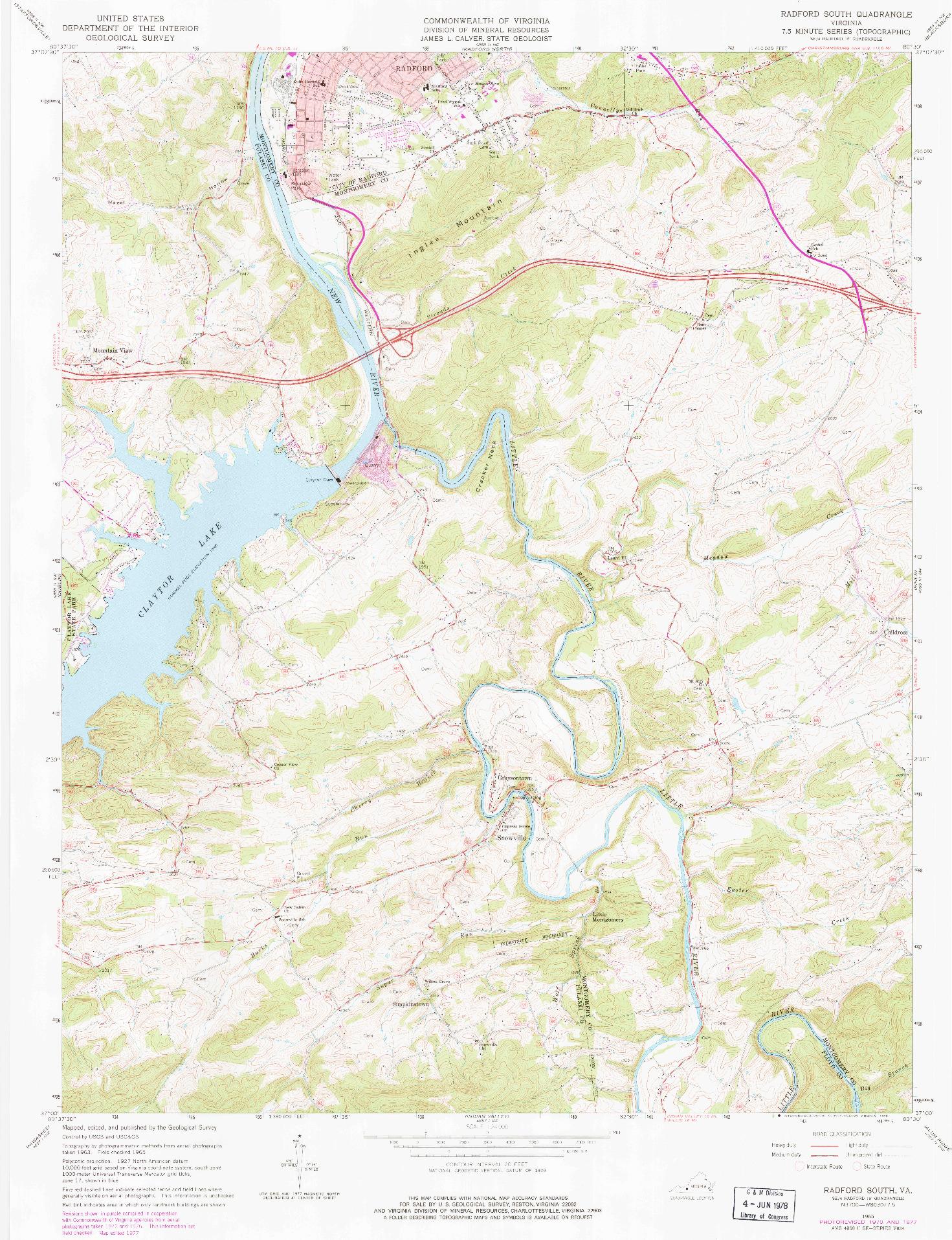 USGS 1:24000-SCALE QUADRANGLE FOR RADFORD SOUTH, VA 1965