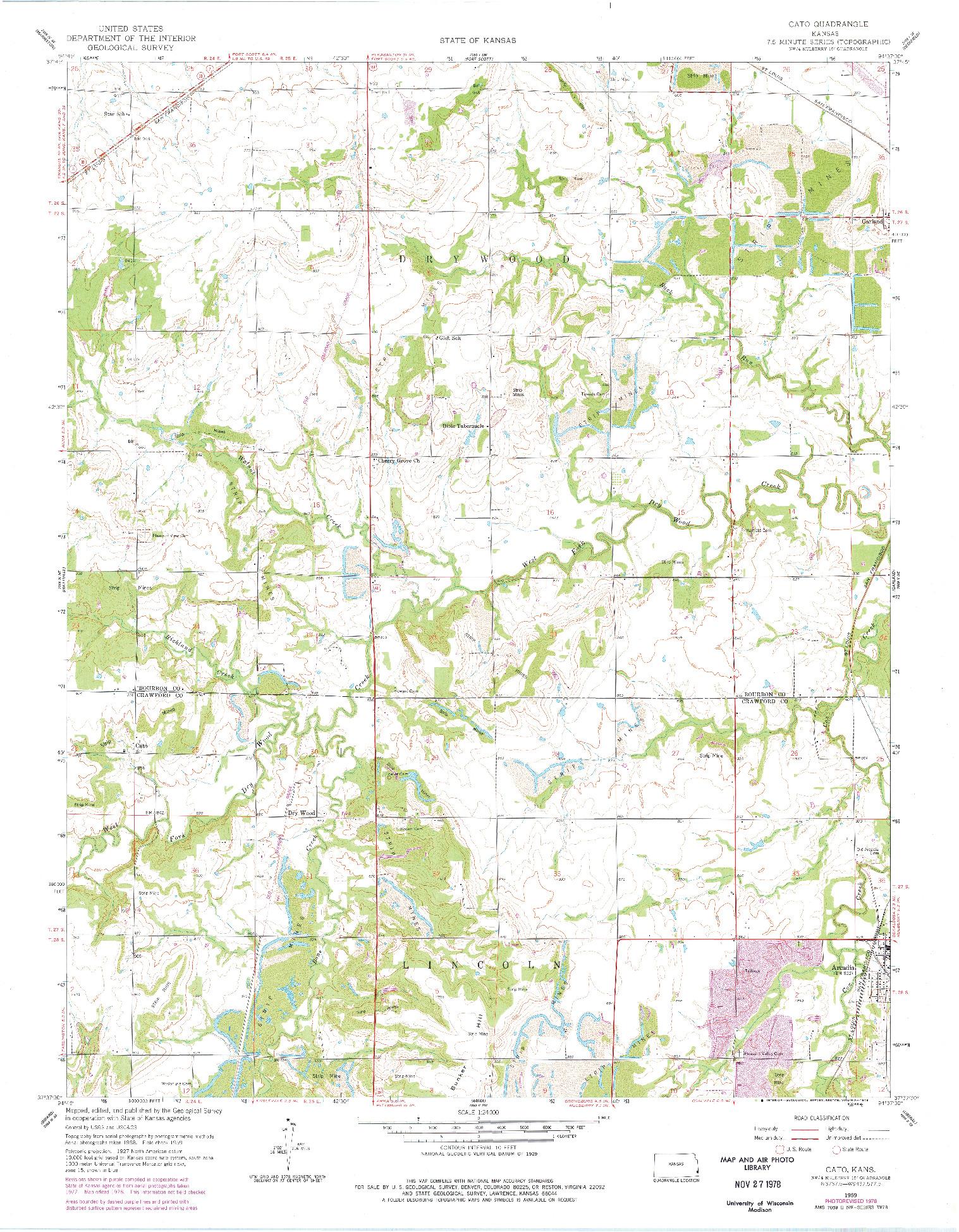 USGS 1:24000-SCALE QUADRANGLE FOR CATO, KS 1959