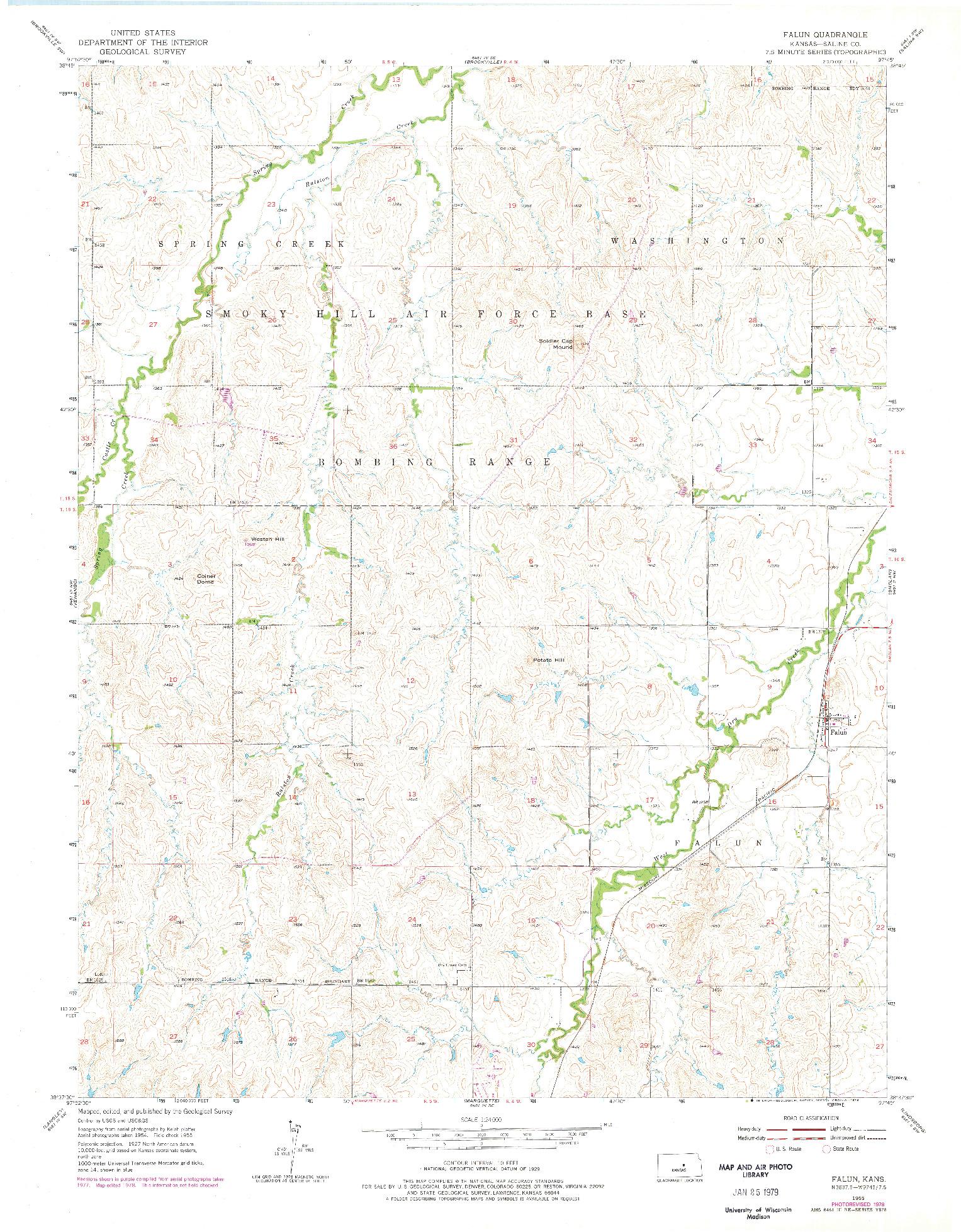 USGS 1:24000-SCALE QUADRANGLE FOR FALUN, KS 1955