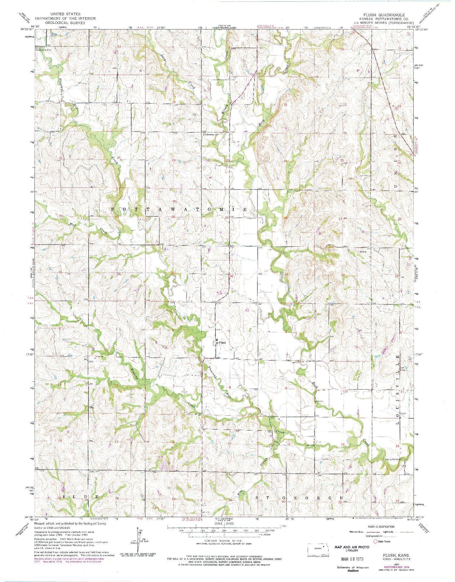 USGS 1:24000-SCALE QUADRANGLE FOR FLUSH, KS 1964