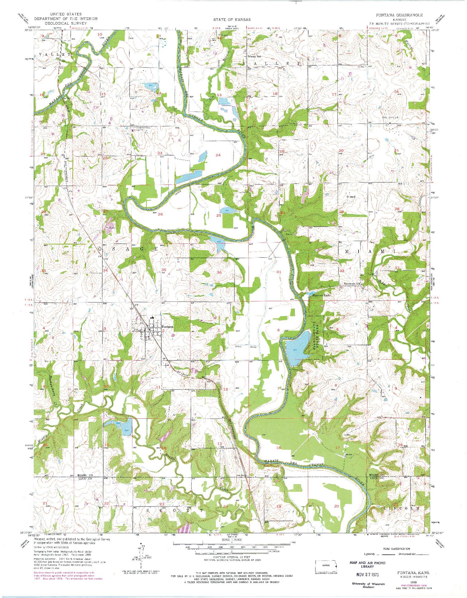 USGS 1:24000-SCALE QUADRANGLE FOR FONTANA, KS 1958