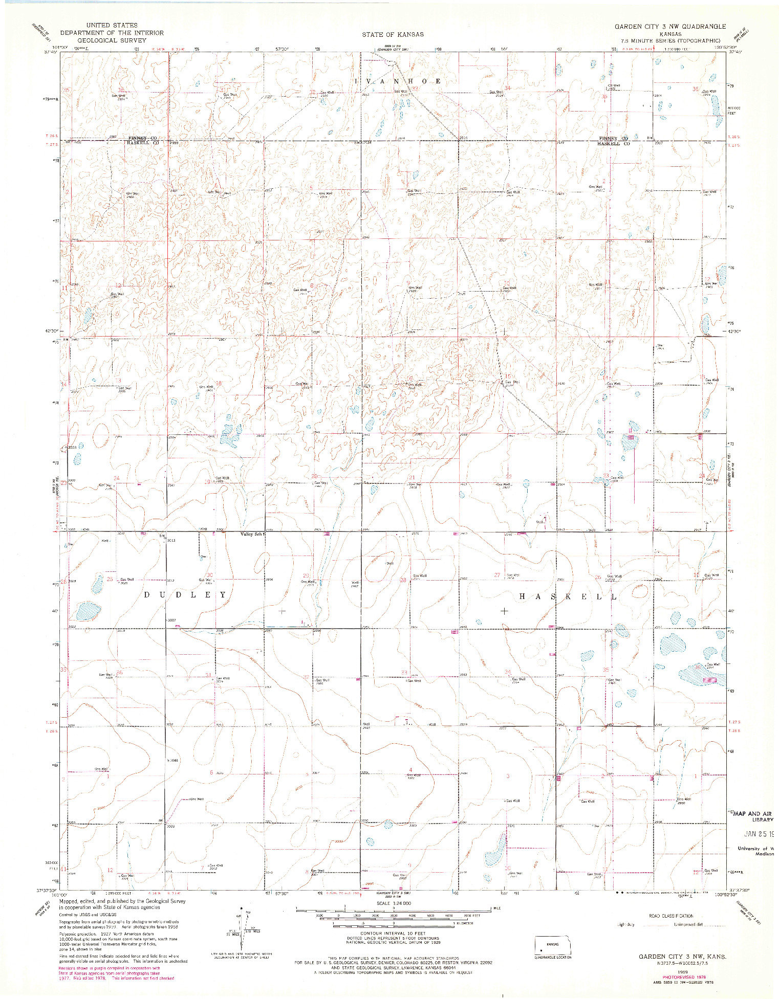 USGS 1:24000-SCALE QUADRANGLE FOR GARDEN CITY 3 NW, KS 1959