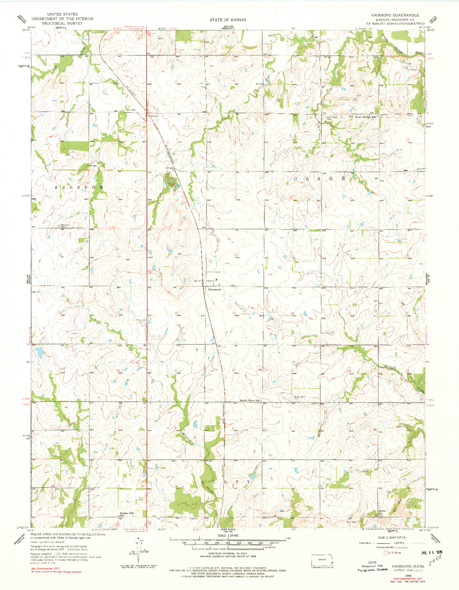 USGS 1:24000-SCALE QUADRANGLE FOR HAMMOND, KS 1958