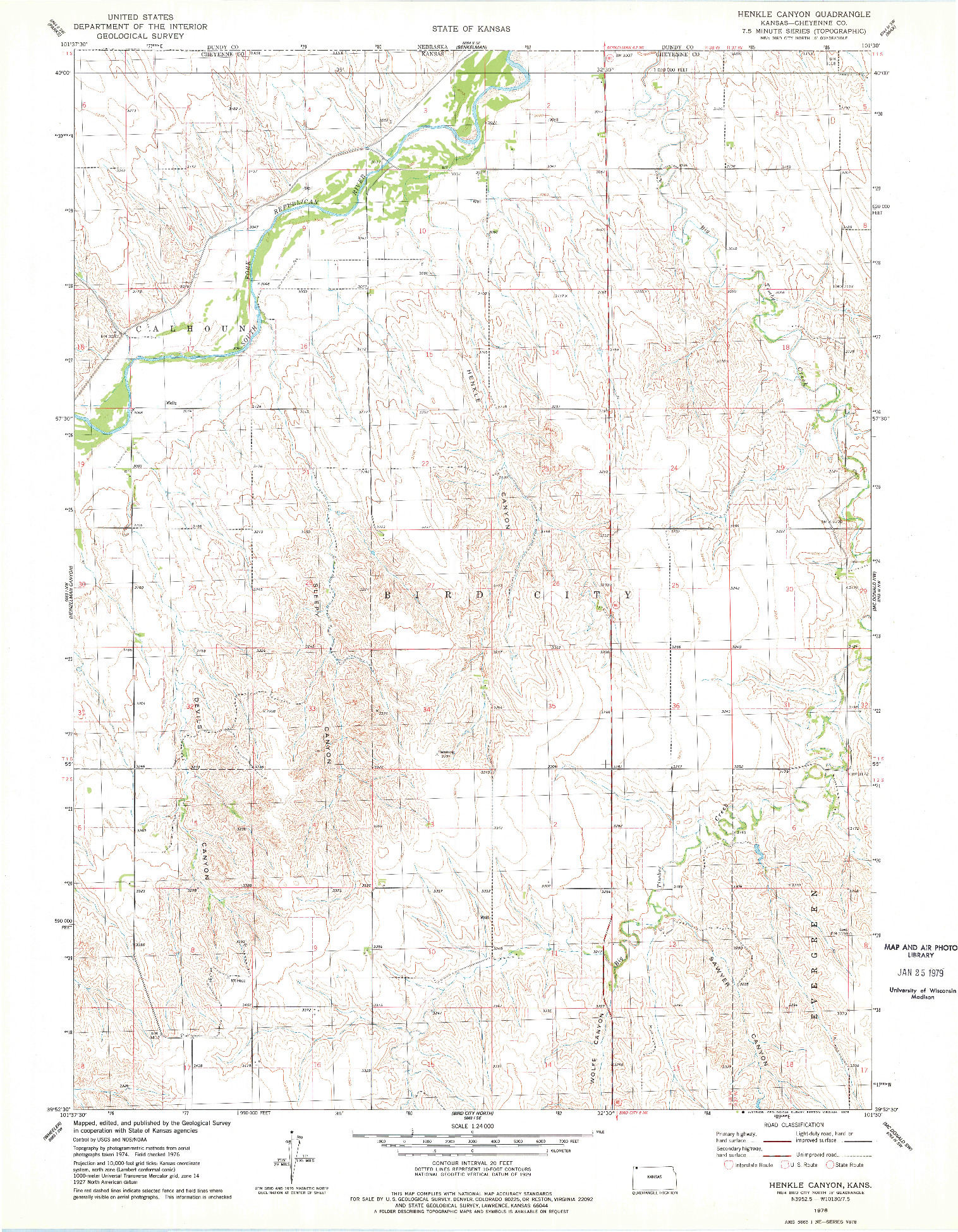 USGS 1:24000-SCALE QUADRANGLE FOR HENKLE CANYON, KS 1976