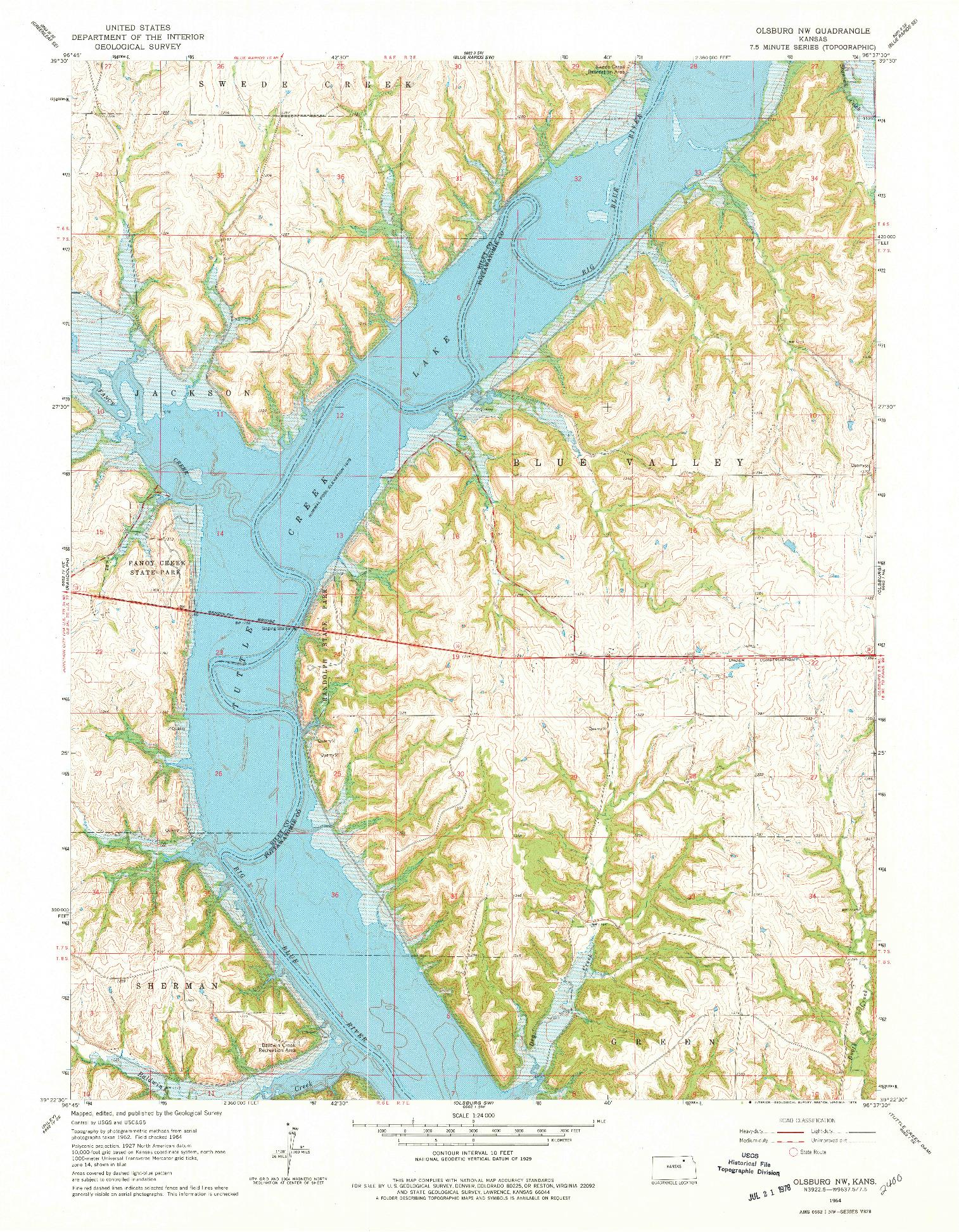 USGS 1:24000-SCALE QUADRANGLE FOR OLSBURG NW, KS 1964