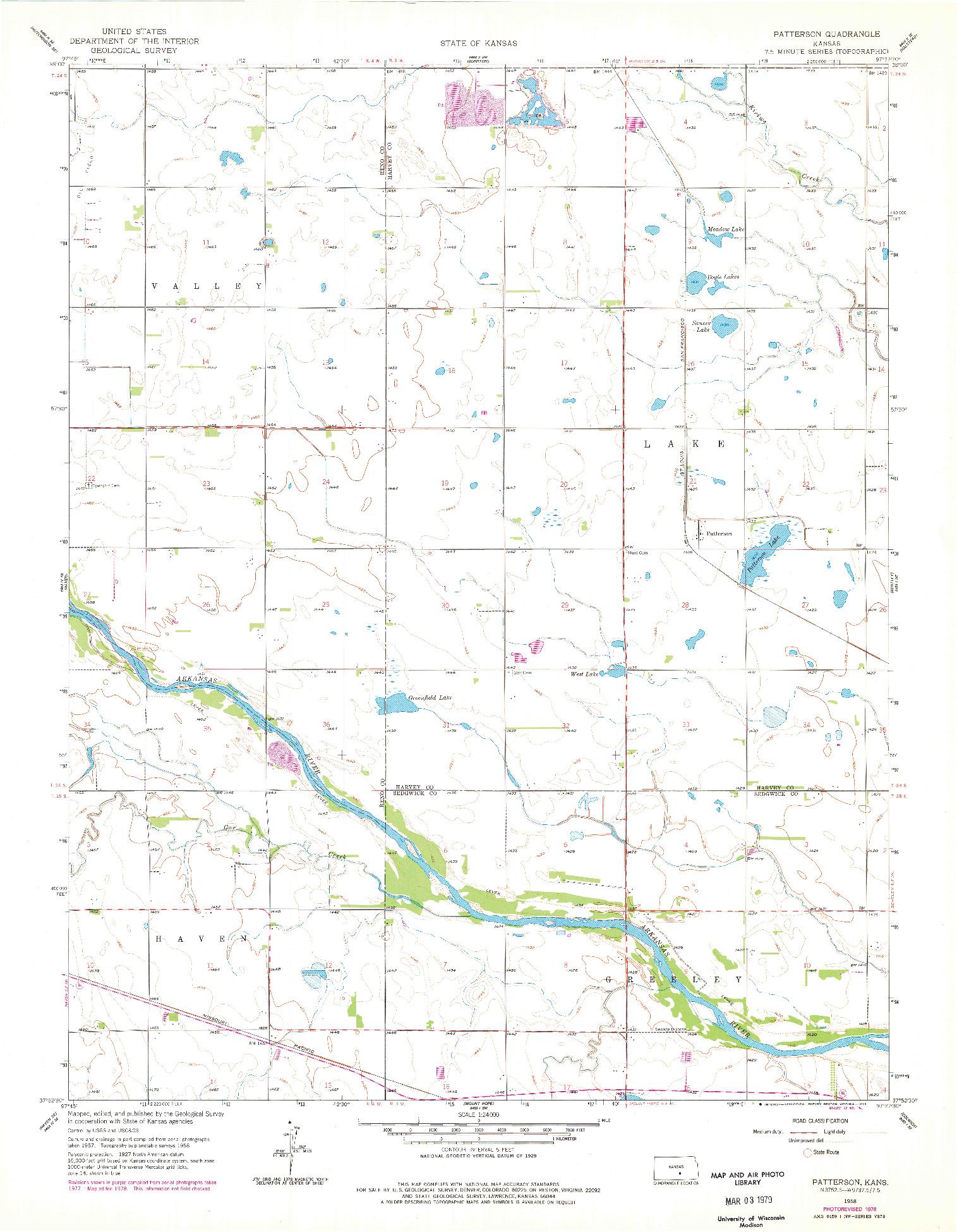USGS 1:24000-SCALE QUADRANGLE FOR PATTERSON, KS 1958