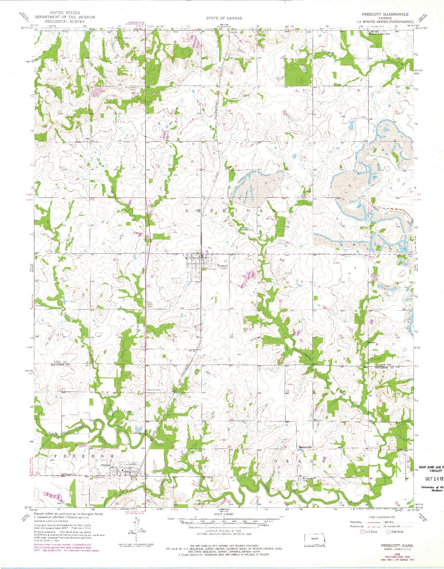 USGS 1:24000-SCALE QUADRANGLE FOR PRESCOTT, KS 1958