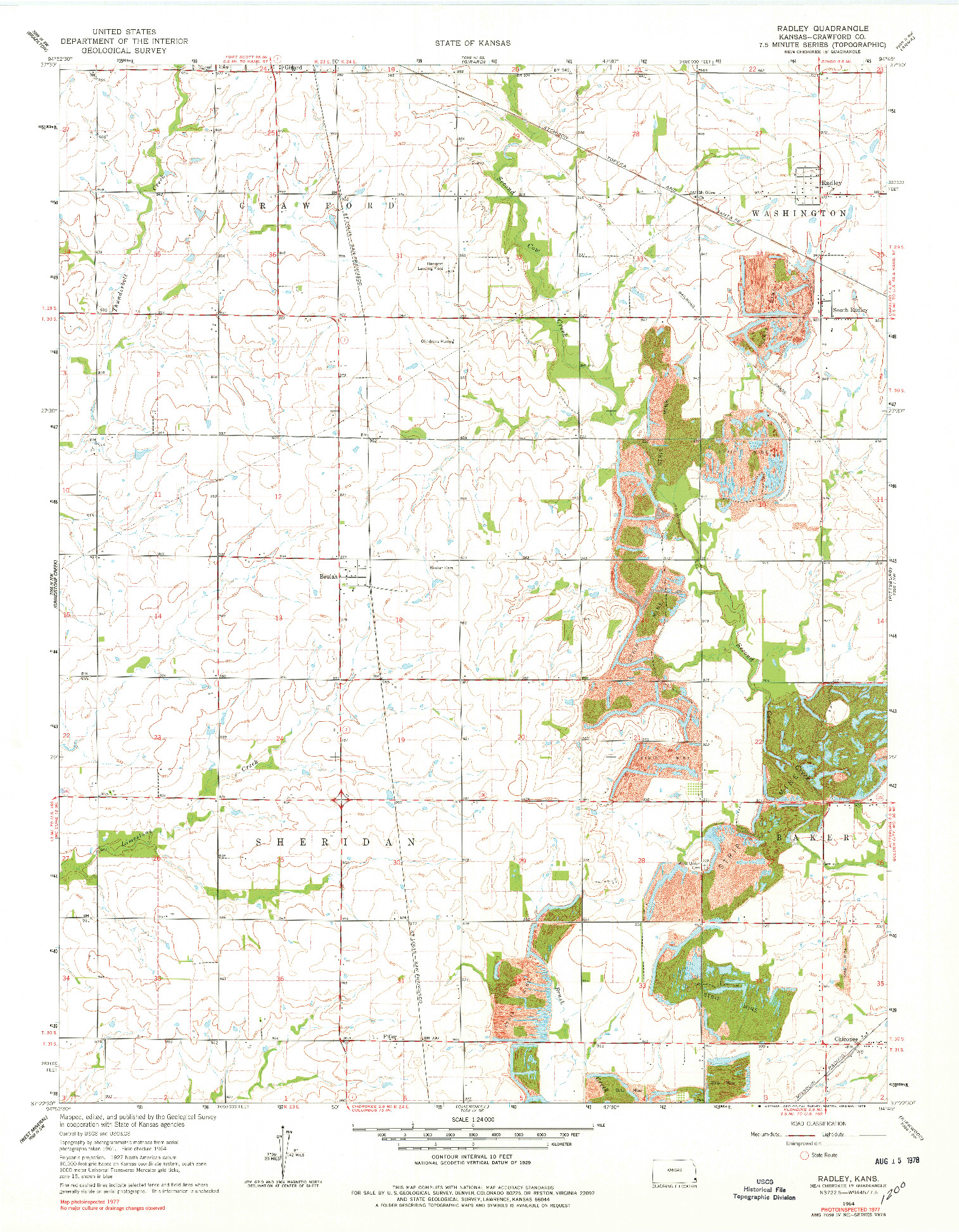 USGS 1:24000-SCALE QUADRANGLE FOR RADLEY, KS 1964