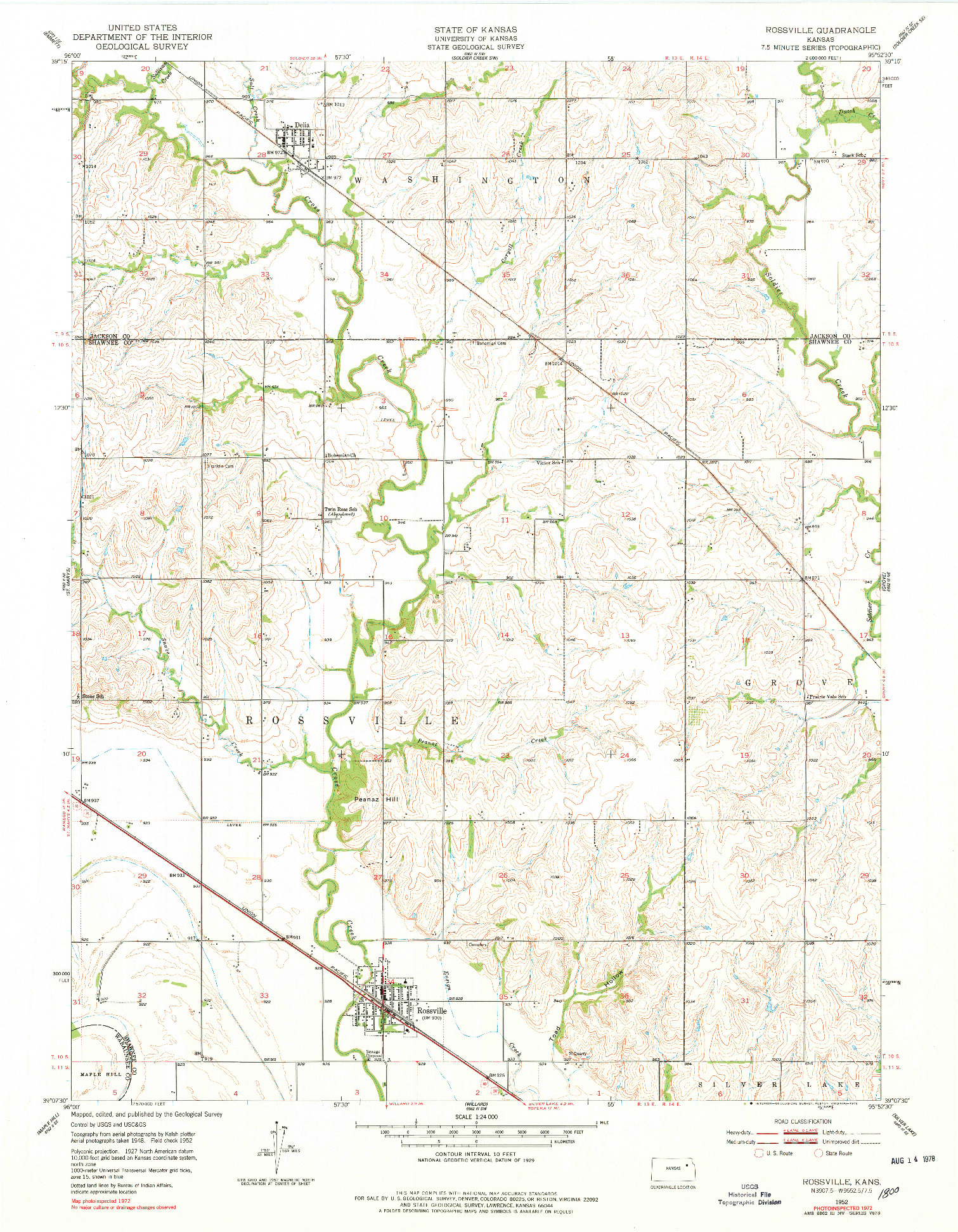USGS 1:24000-SCALE QUADRANGLE FOR ROSSVILLE, KS 1952