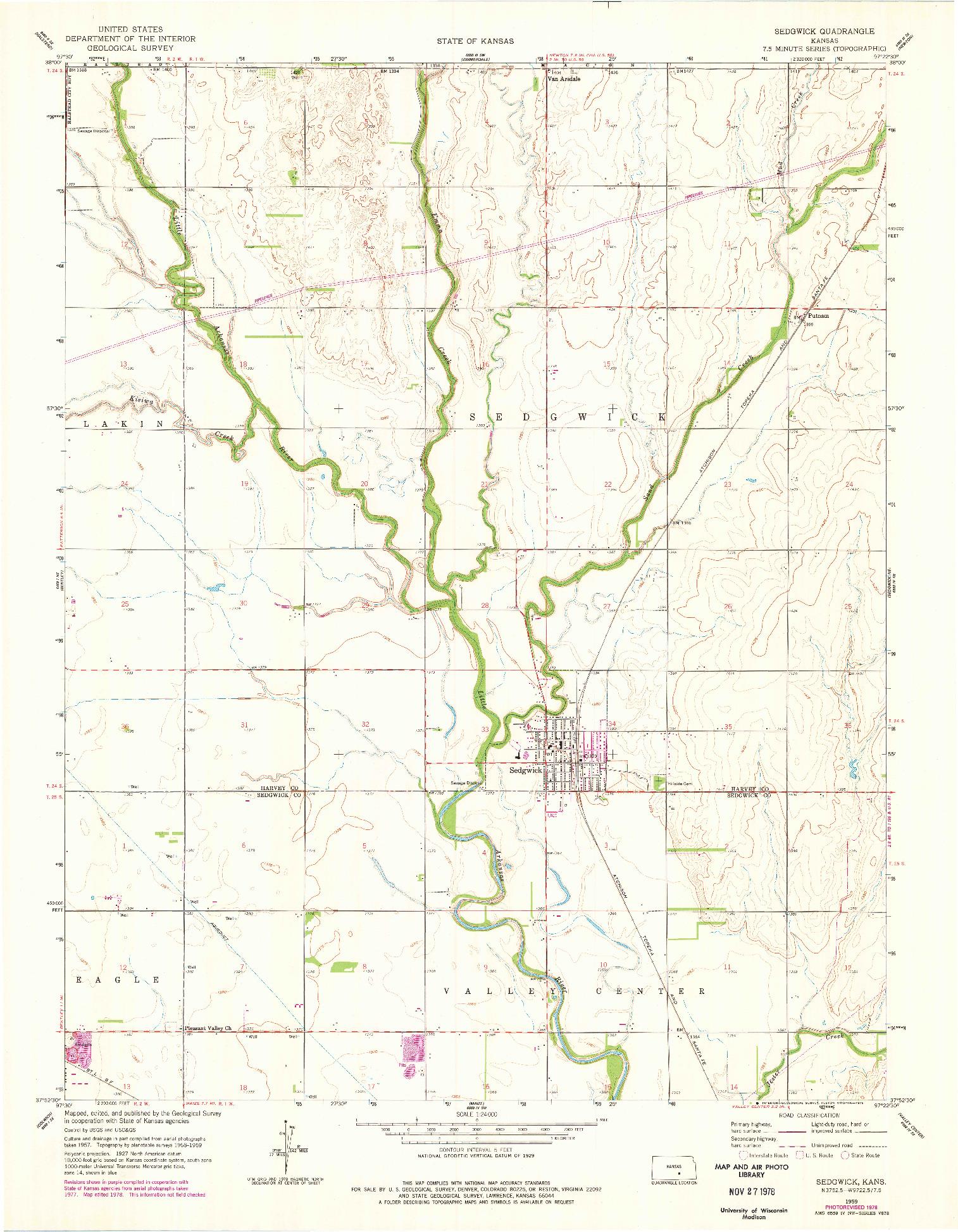 USGS 1:24000-SCALE QUADRANGLE FOR SEDGWICK, KS 1959