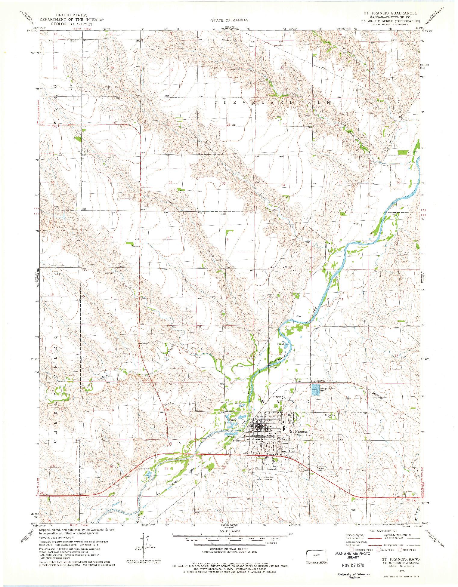 USGS 1:24000-SCALE QUADRANGLE FOR ST FRANCIS, KS 1978