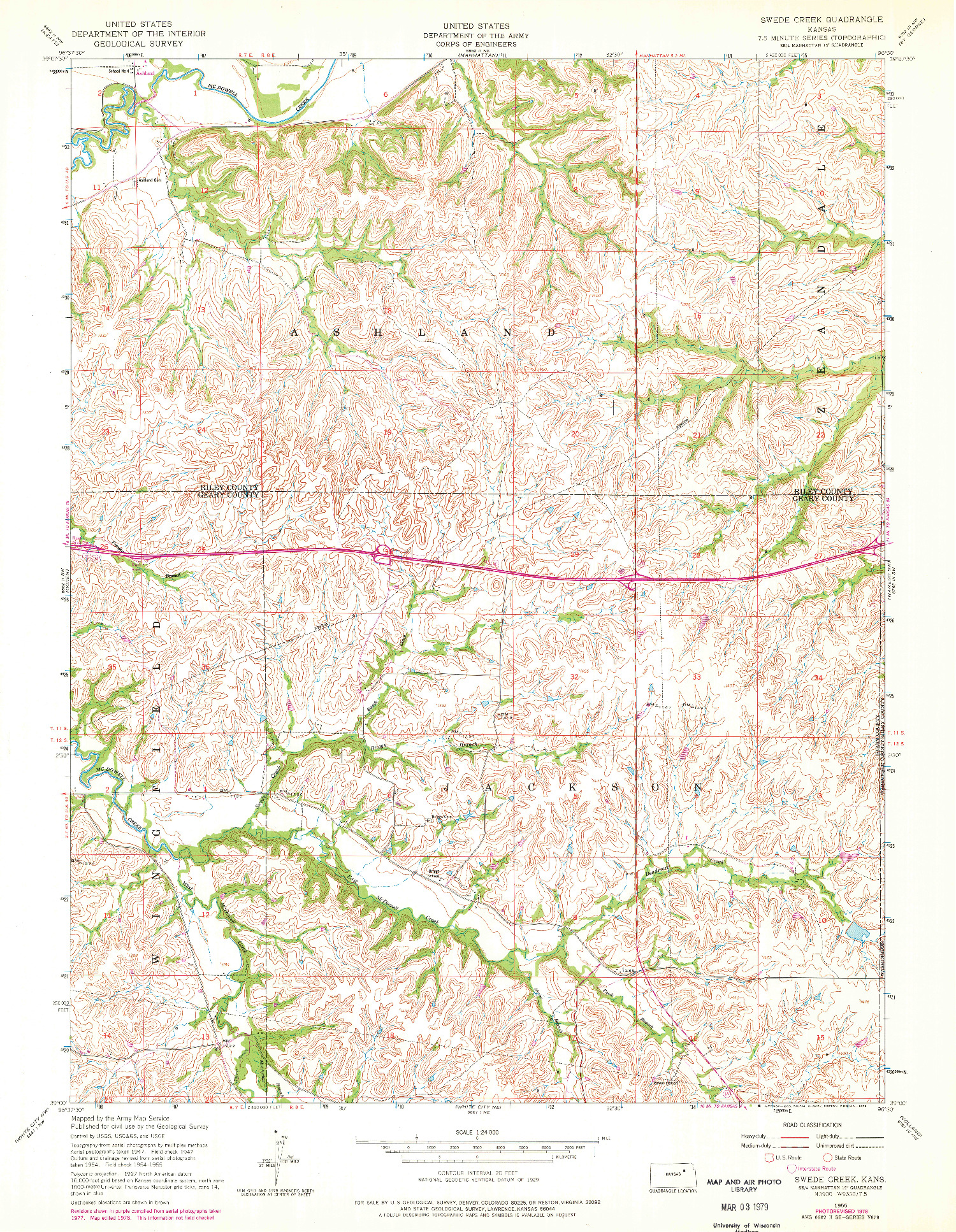 USGS 1:24000-SCALE QUADRANGLE FOR SWEDE CREEK, KS 1955