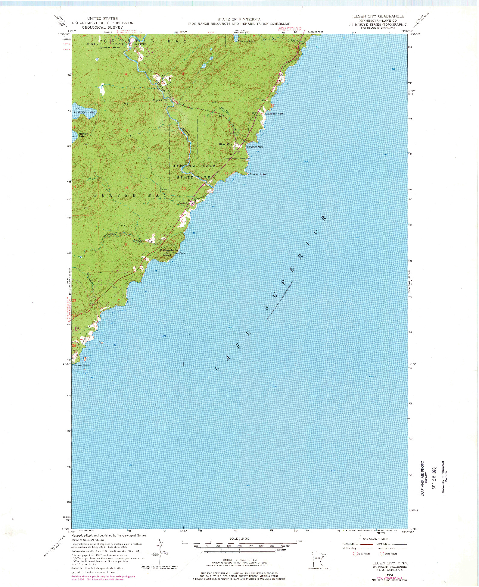 USGS 1:24000-SCALE QUADRANGLE FOR ILLGEN CITY, MN 1956