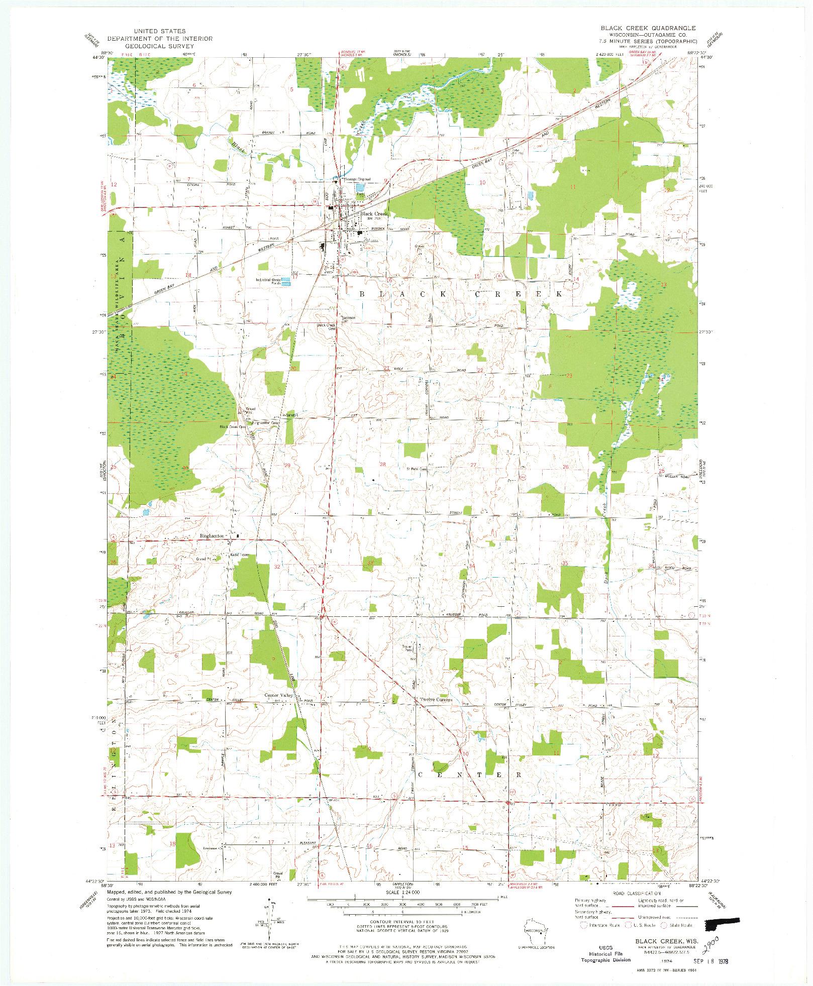 USGS 1:24000-SCALE QUADRANGLE FOR BLACK CREEK, WI 1974
