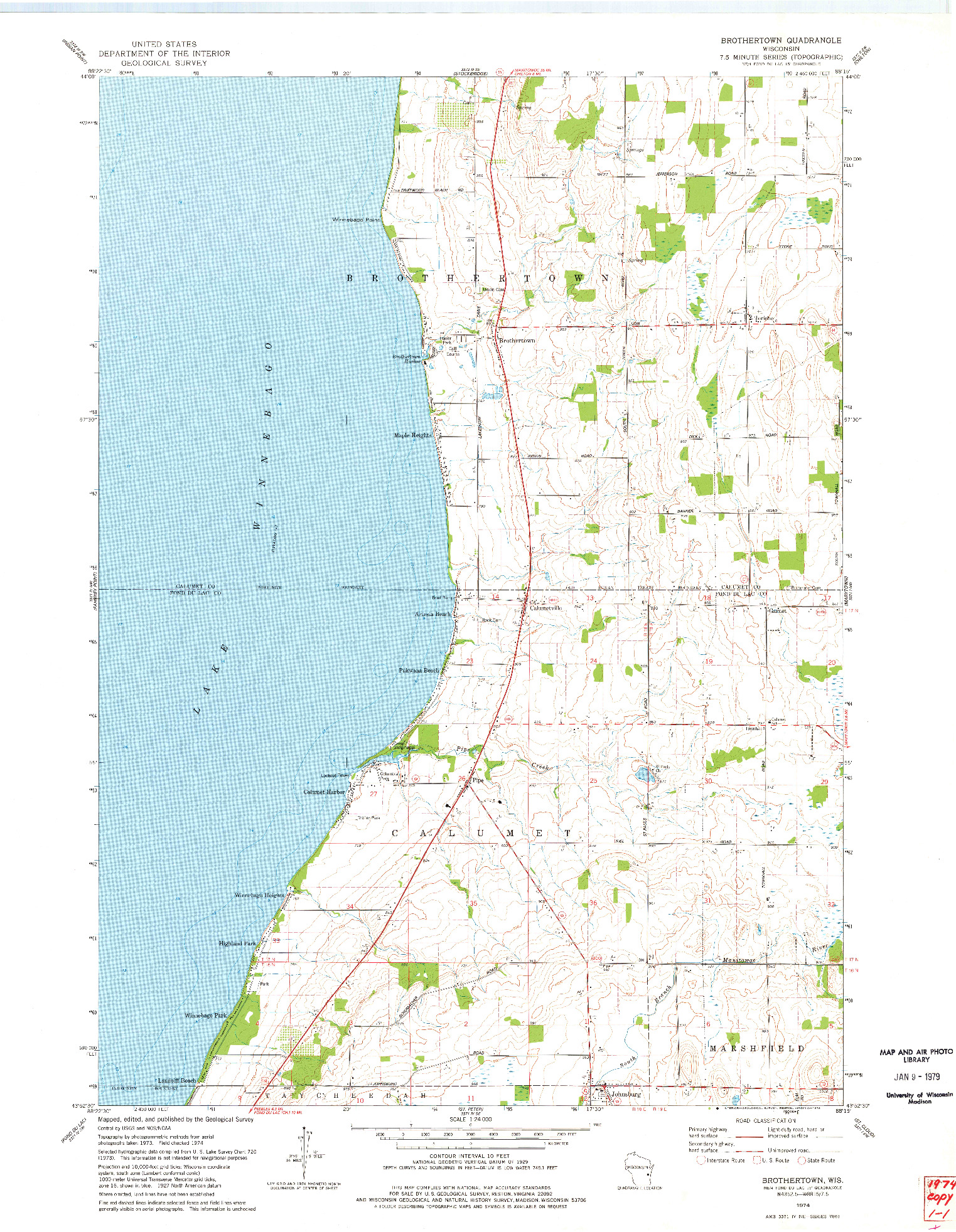 USGS 1:24000-SCALE QUADRANGLE FOR BROTHERTOWN, WI 1974