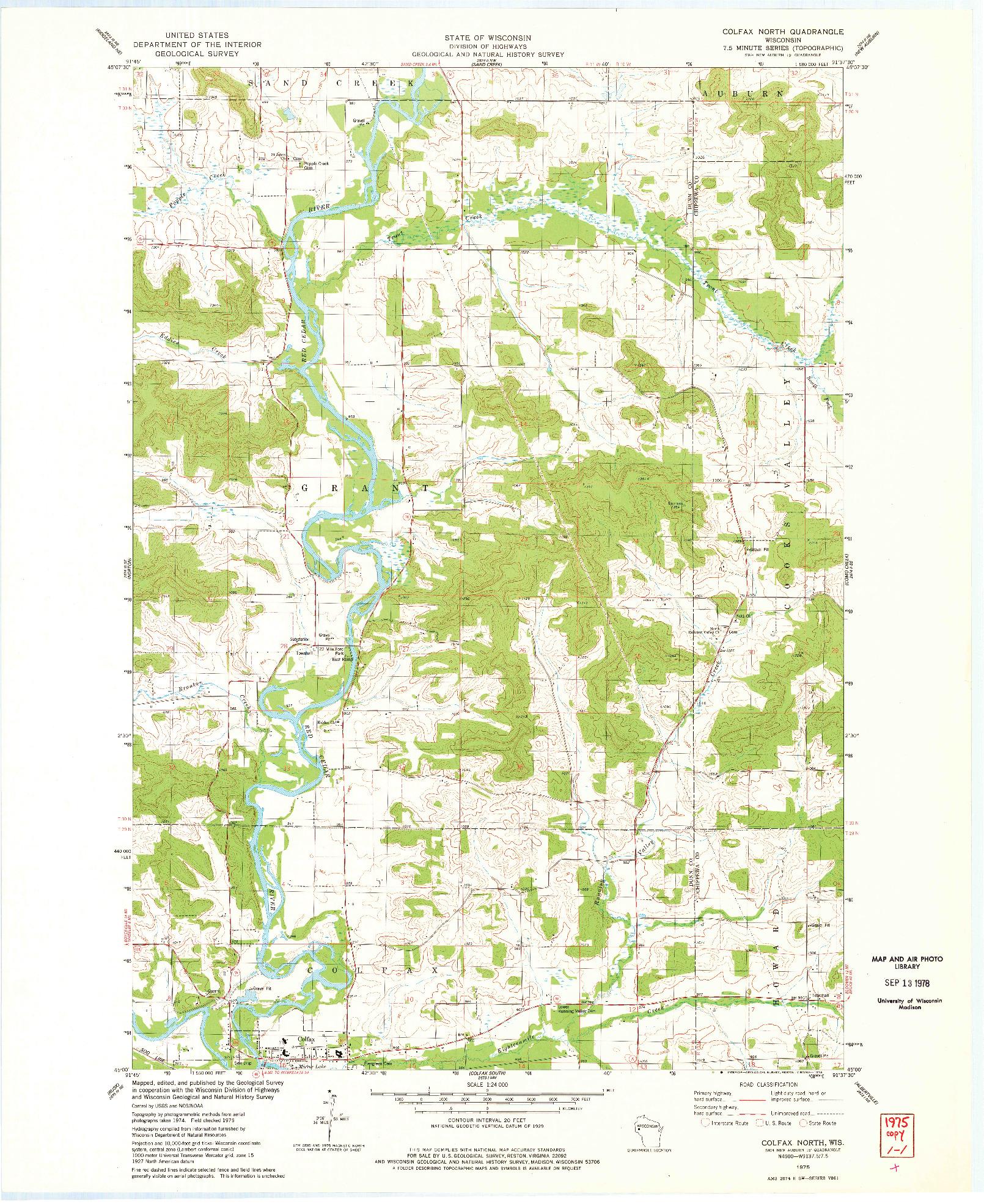 USGS 1:24000-SCALE QUADRANGLE FOR COLFAX NORTH, WI 1975