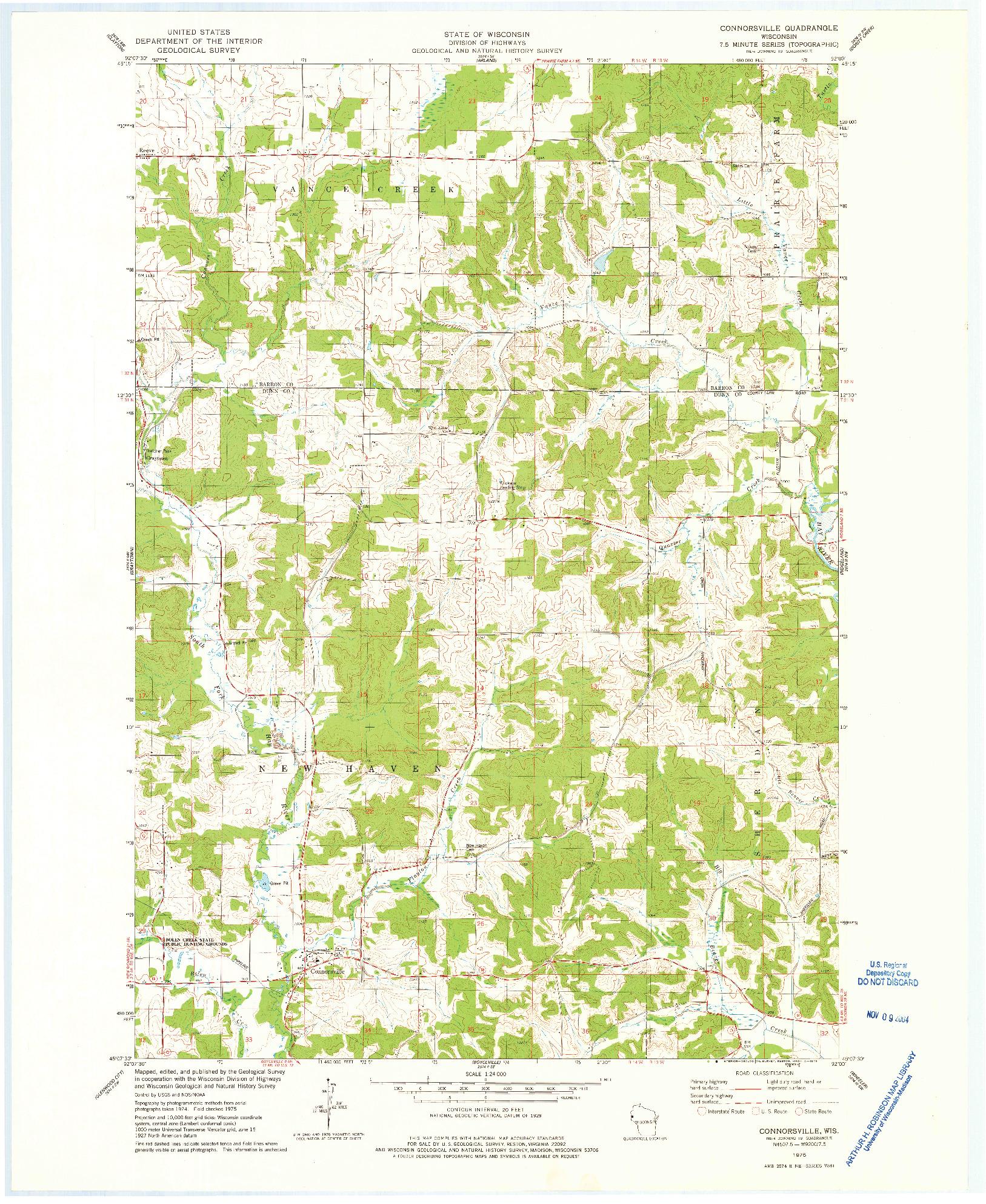 USGS 1:24000-SCALE QUADRANGLE FOR CONNORSVILLE, WI 1975