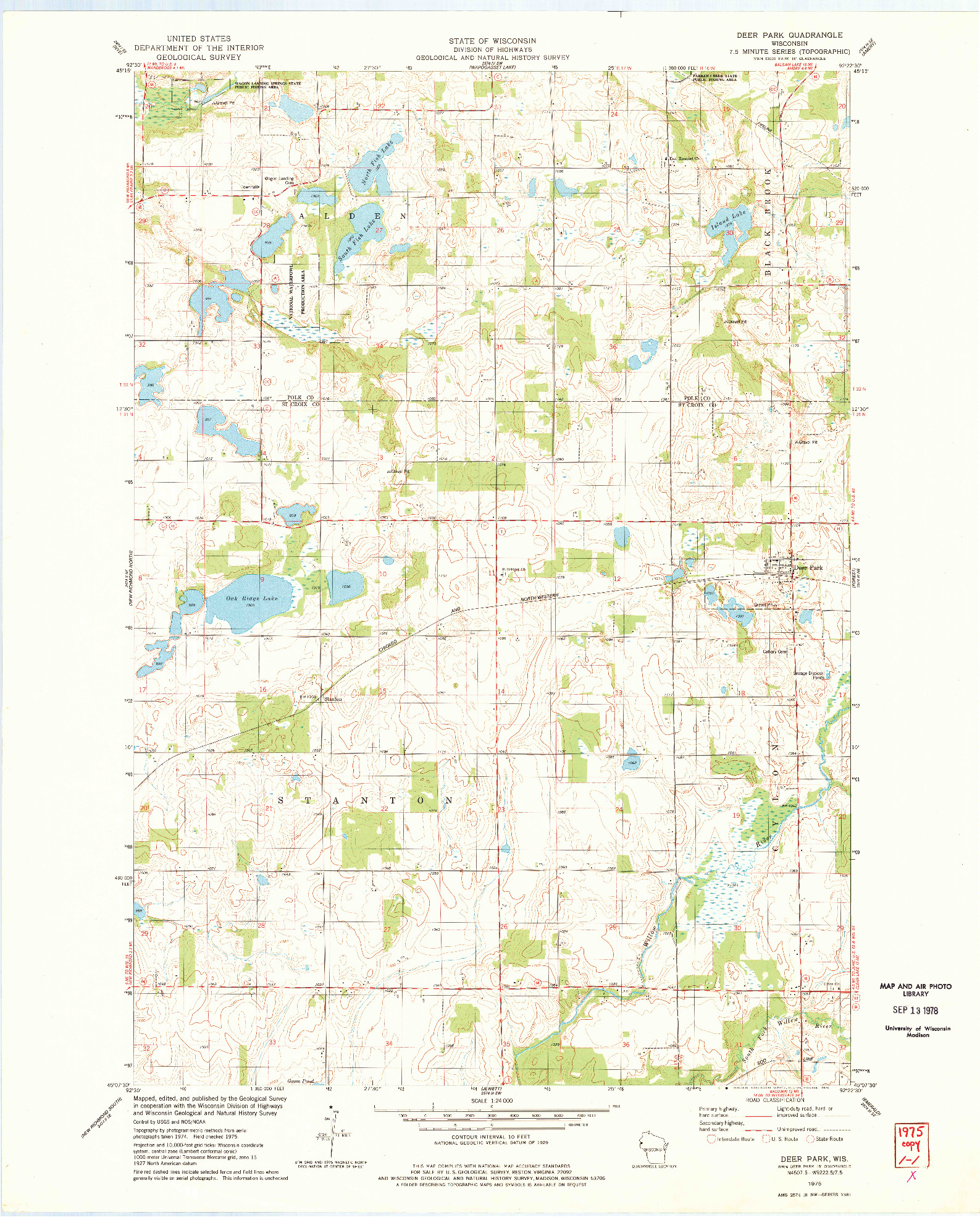 USGS 1:24000-SCALE QUADRANGLE FOR DEER PARK, WI 1975