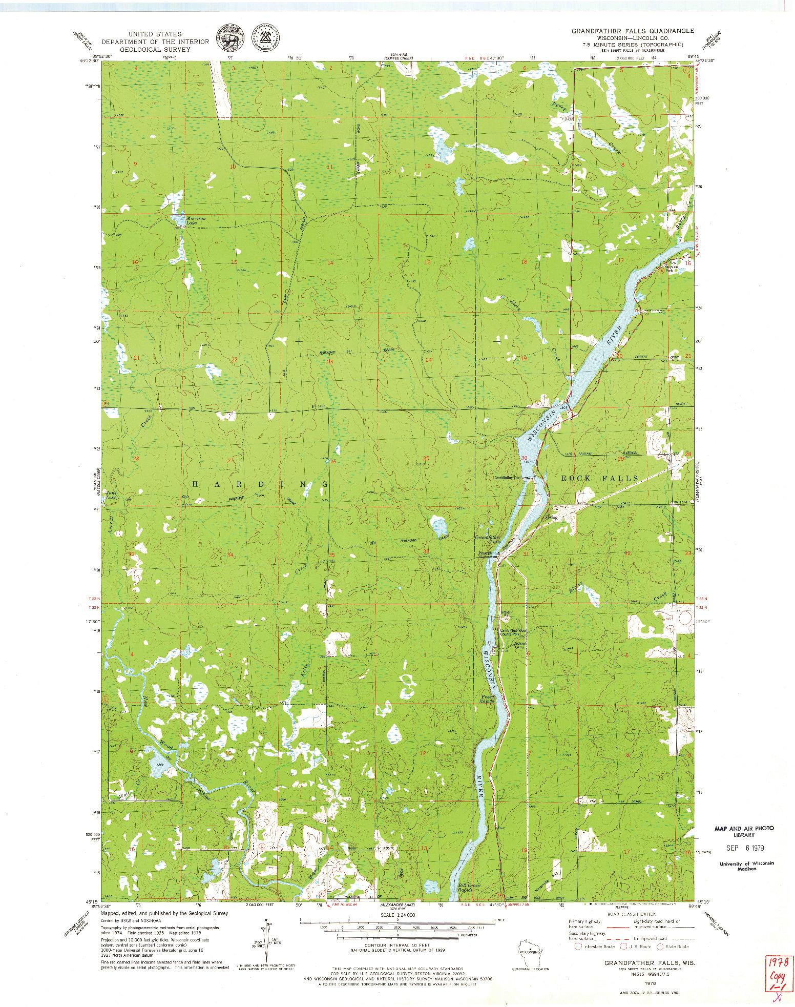 USGS 1:24000-SCALE QUADRANGLE FOR GRANDFATHER FALLS, WI 1978