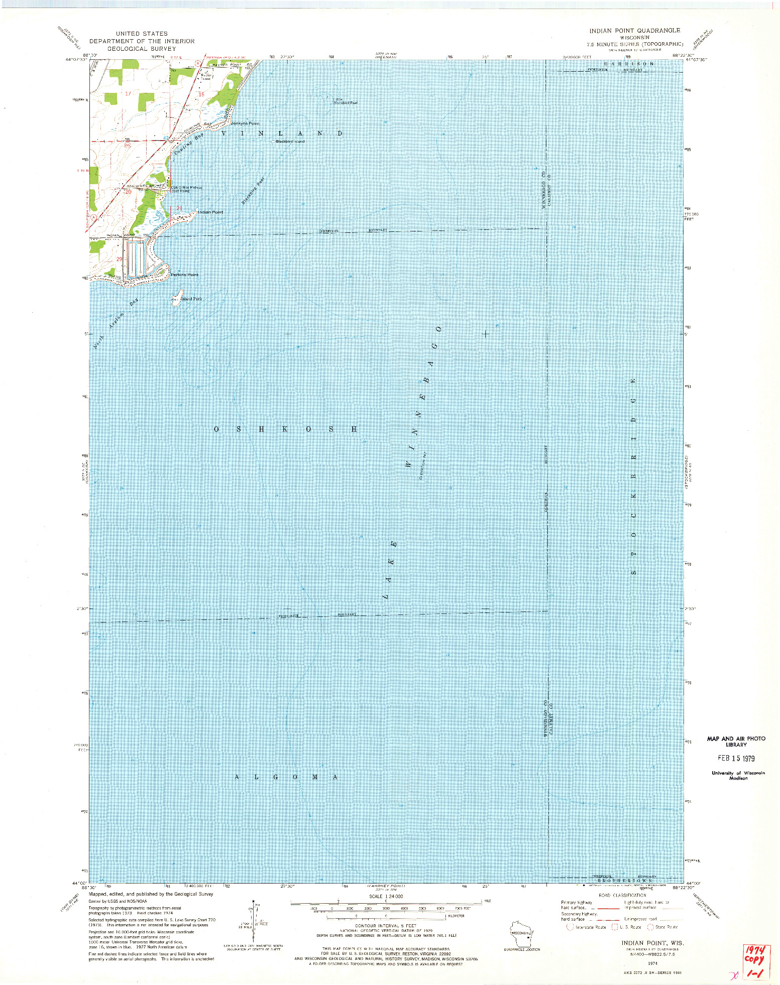 USGS 1:24000-SCALE QUADRANGLE FOR INDIAN POINT, WI 1974