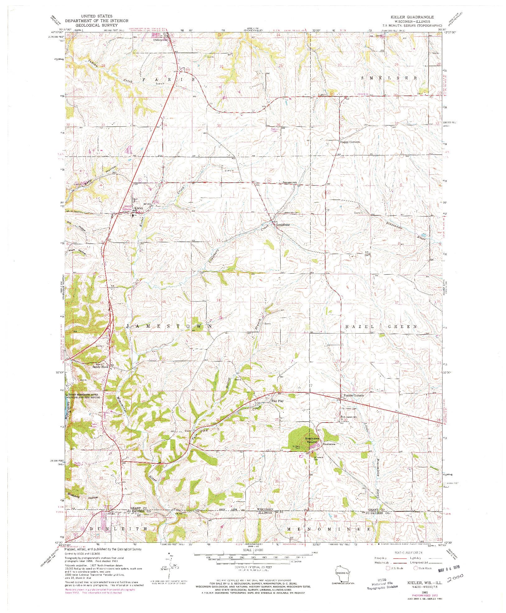 USGS 1:24000-SCALE QUADRANGLE FOR KIELER, WI 1961