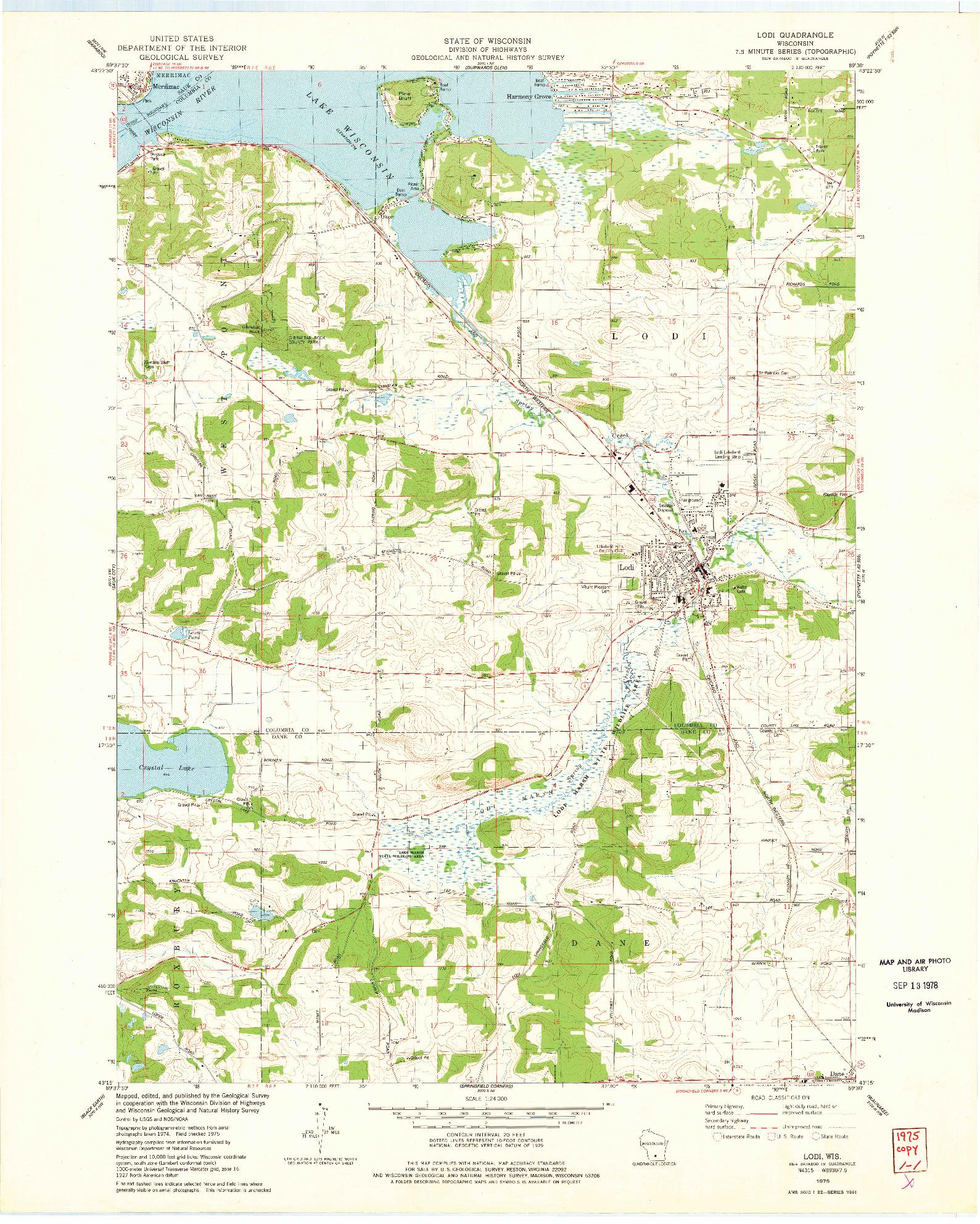 USGS 1:24000-SCALE QUADRANGLE FOR LODI, WI 1975