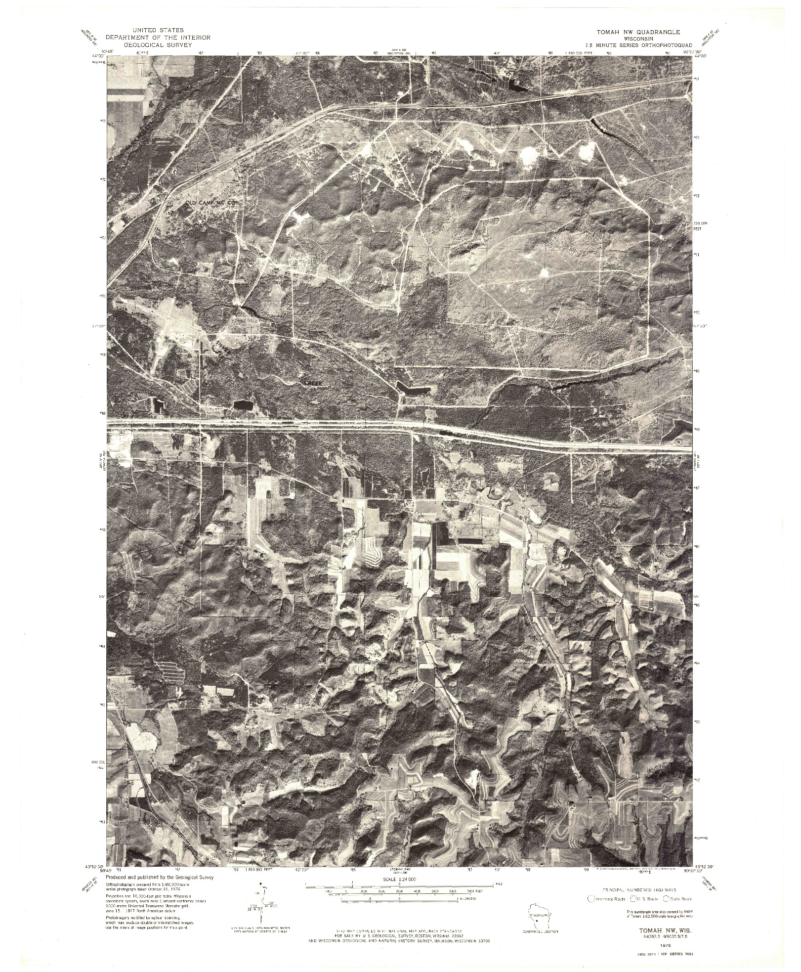 USGS 1:24000-SCALE QUADRANGLE FOR TOMAH NW, WI 1976