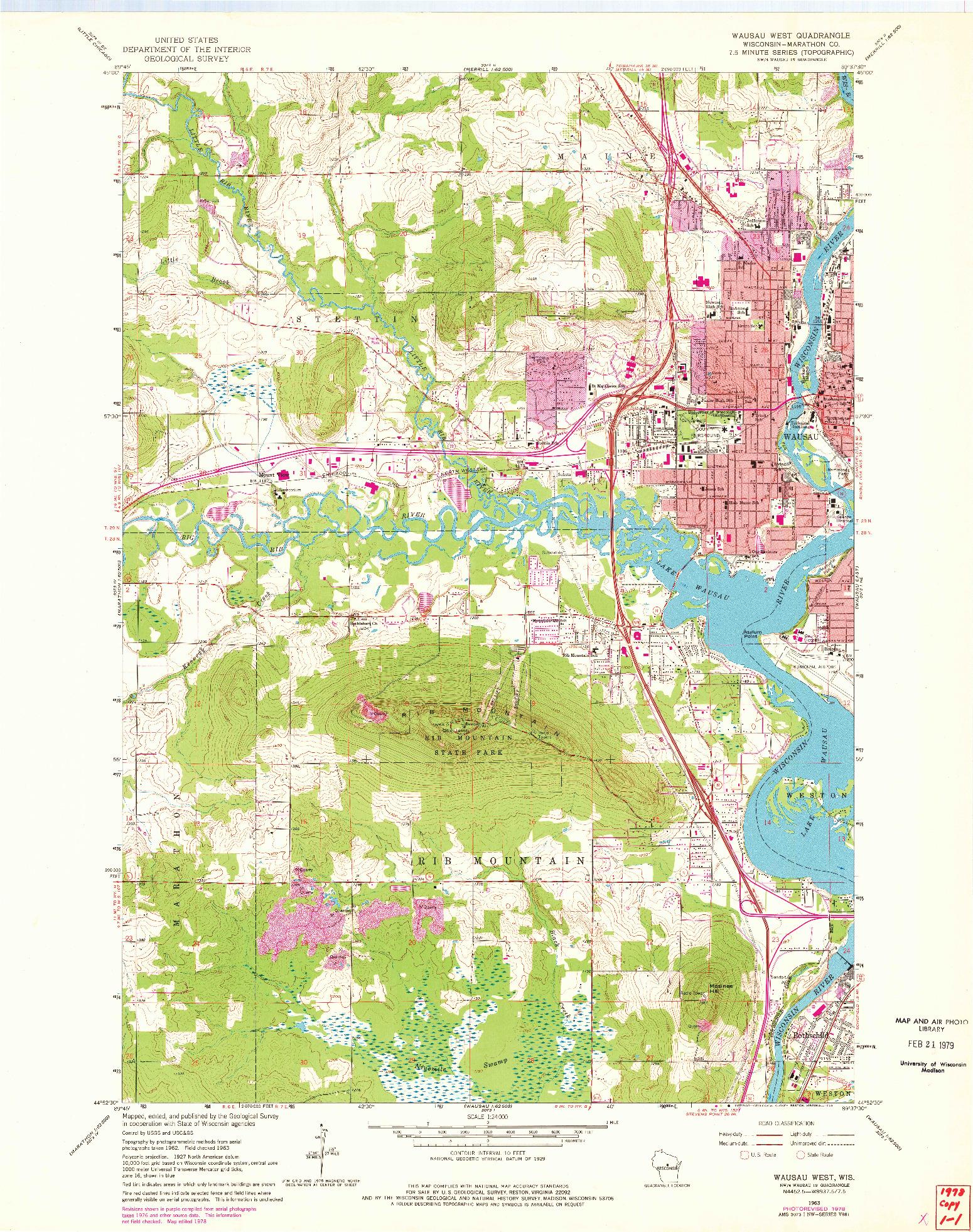USGS 1:24000-SCALE QUADRANGLE FOR WAUSAU WEST, WI 1963