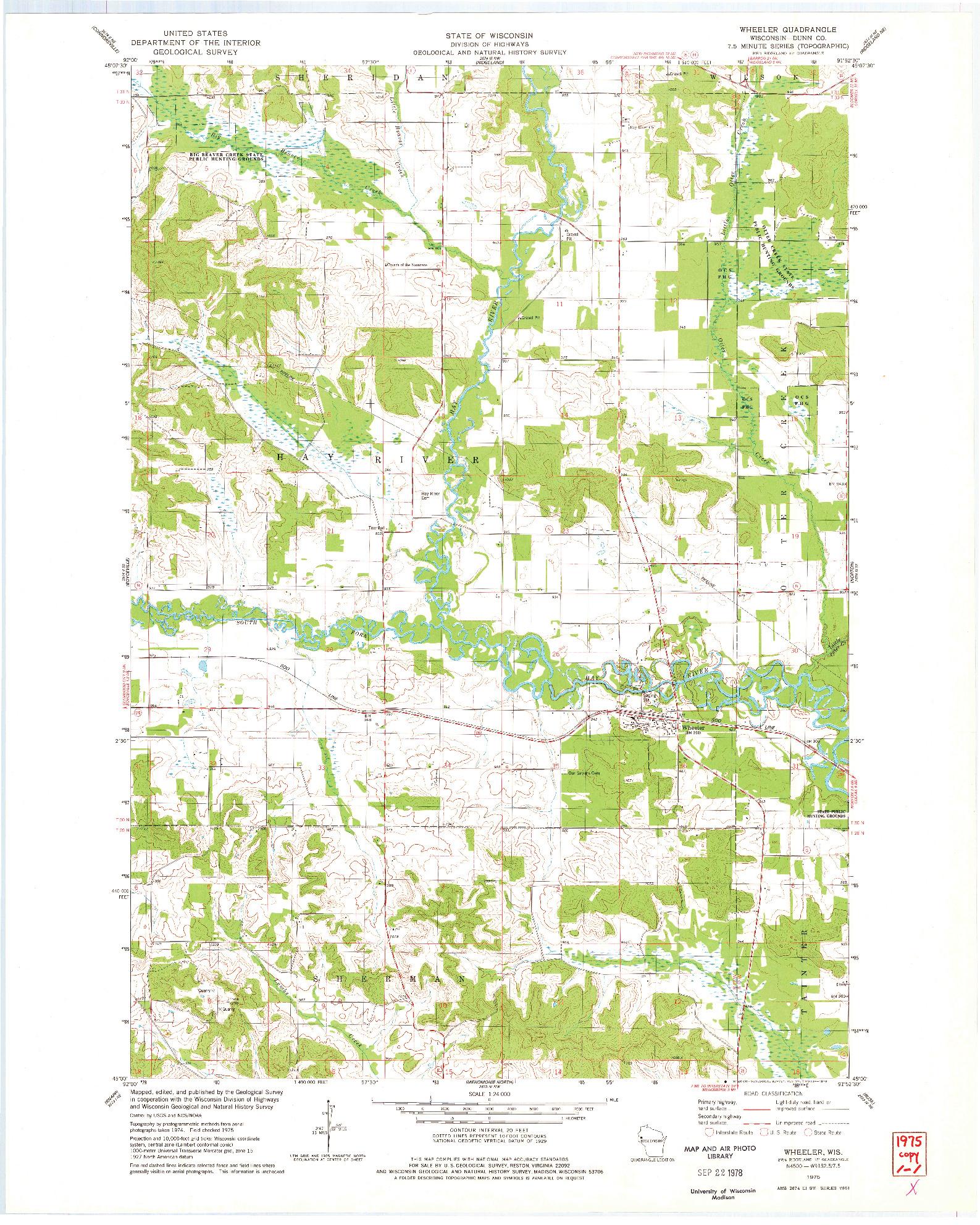 USGS 1:24000-SCALE QUADRANGLE FOR WHEELER, WI 1975