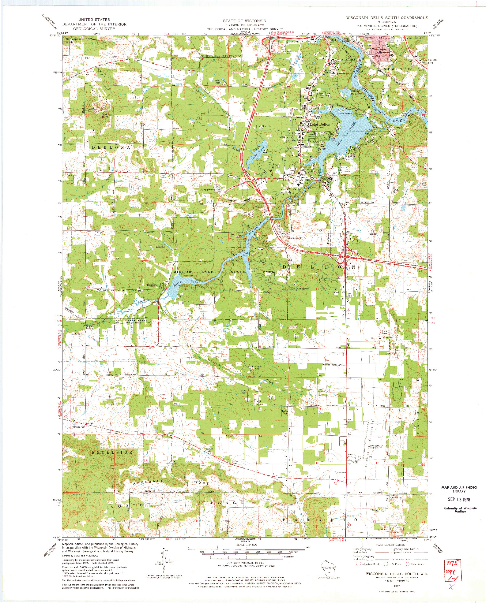 USGS 1:24000-SCALE QUADRANGLE FOR WISCONSIN DELLS SOUTH, WI 1975