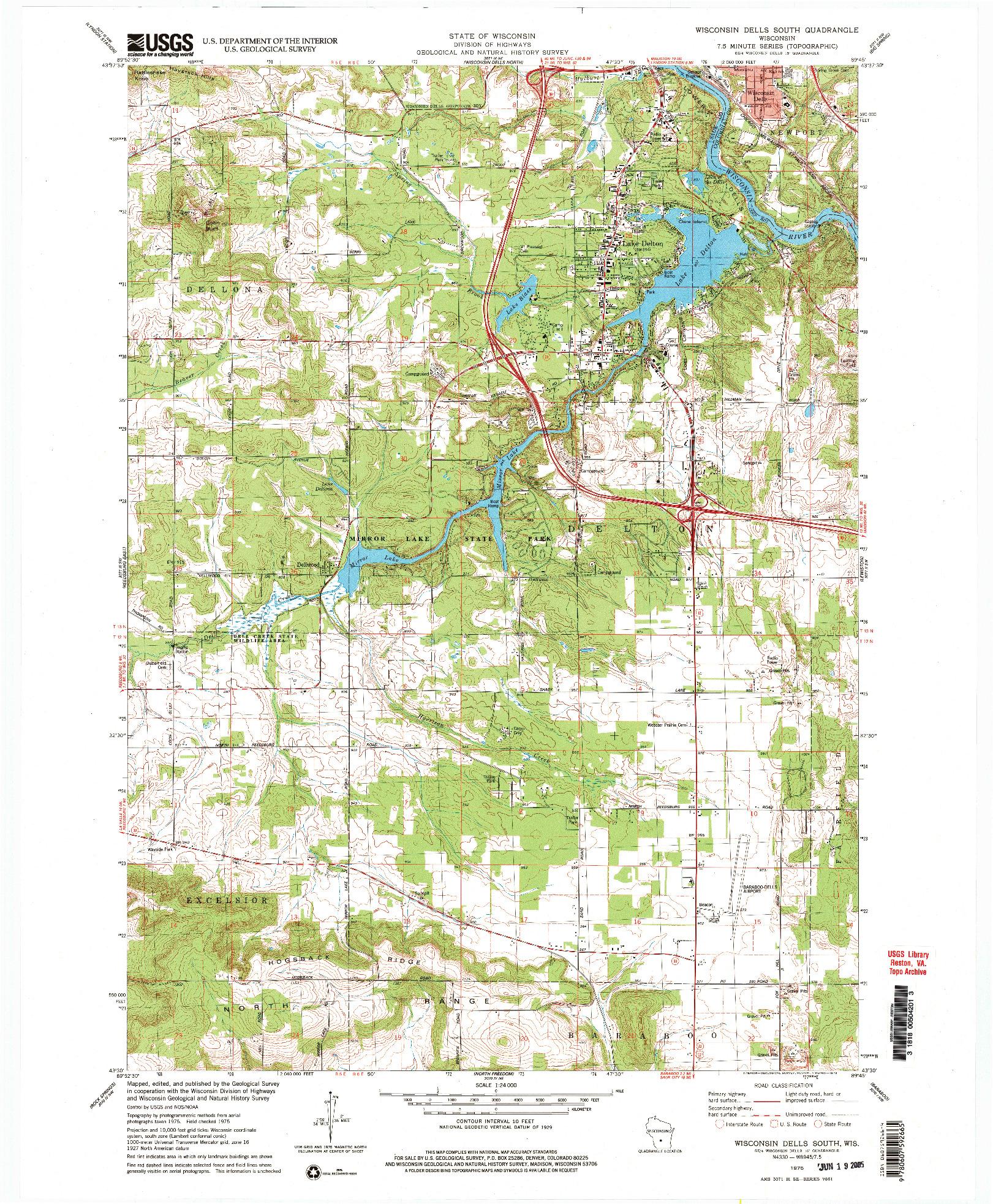 USGS 1:24000-SCALE QUADRANGLE FOR WISCONSIN DELLS SOUTH, WI 1975