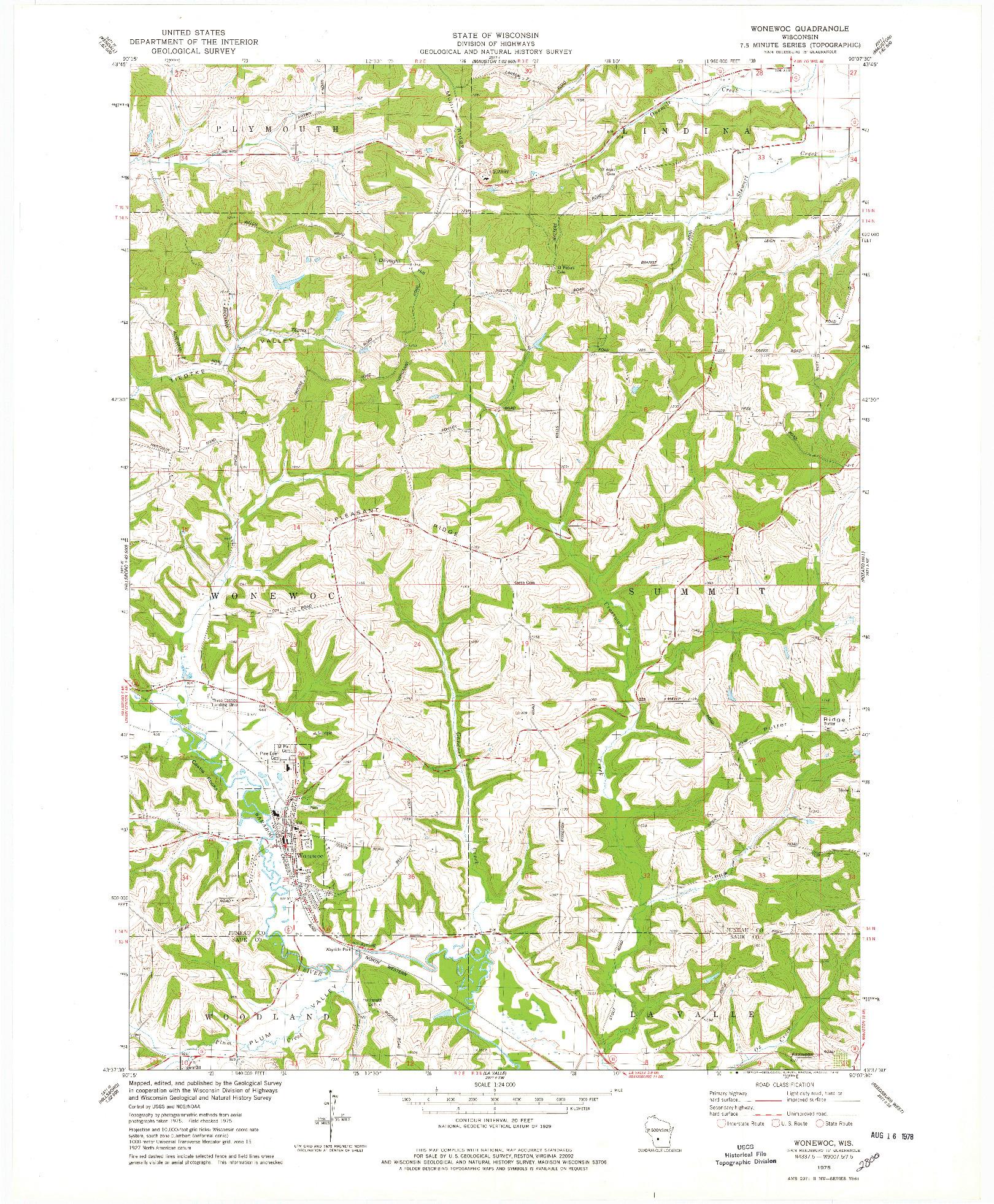 USGS 1:24000-SCALE QUADRANGLE FOR WONEWOC, WI 1975
