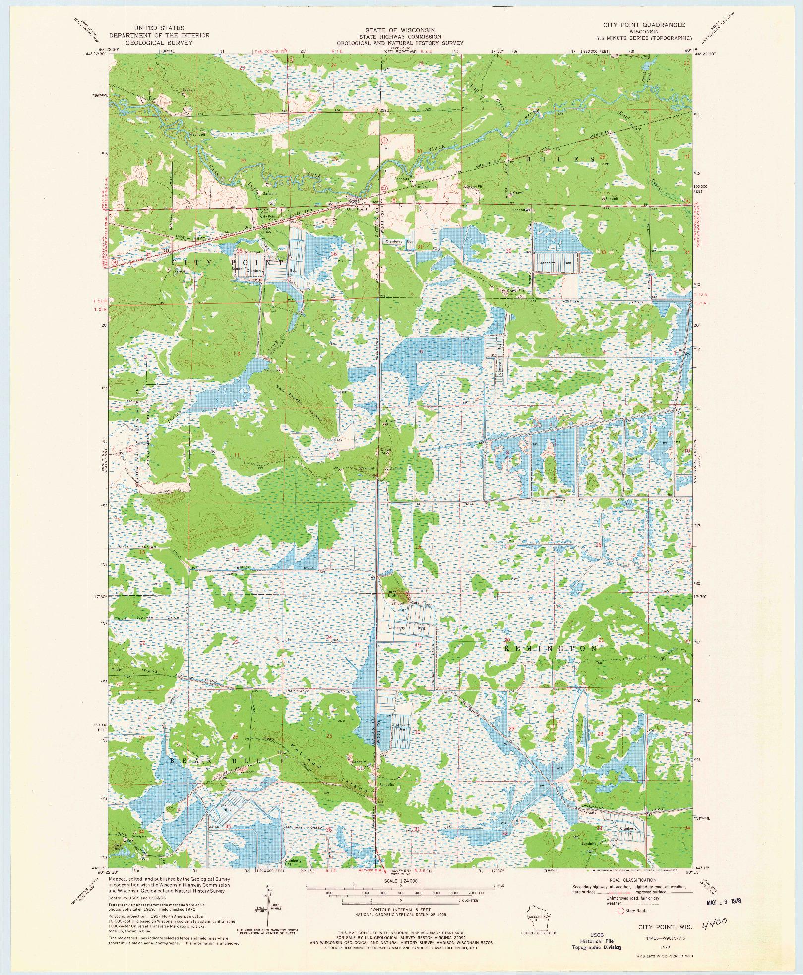 USGS 1:24000-SCALE QUADRANGLE FOR CITY POINT, WI 1970