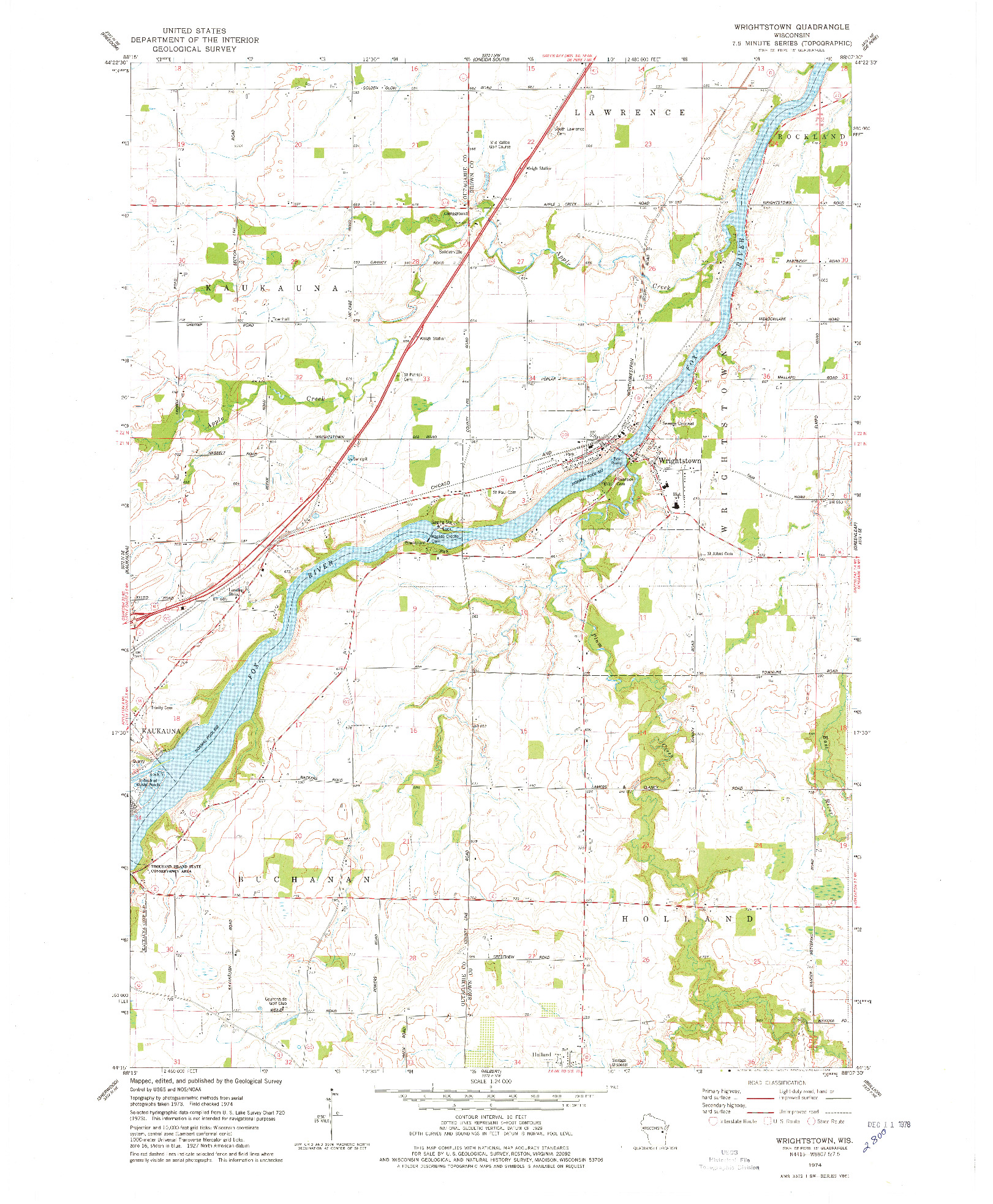 USGS 1:24000-SCALE QUADRANGLE FOR WRIGHTSTOWN, WI 1974