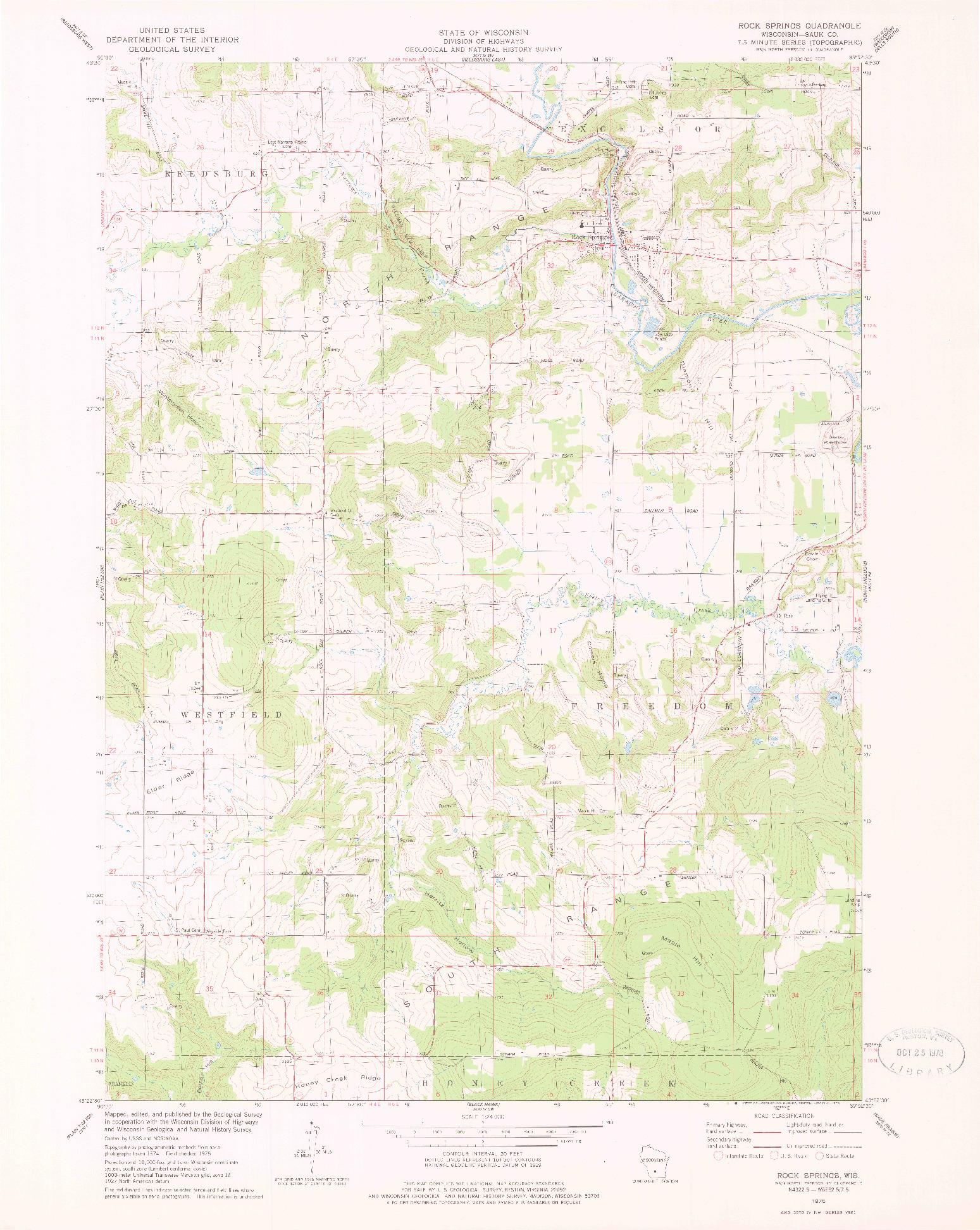 USGS 1:24000-SCALE QUADRANGLE FOR ROCK SPRINGS, WI 1975