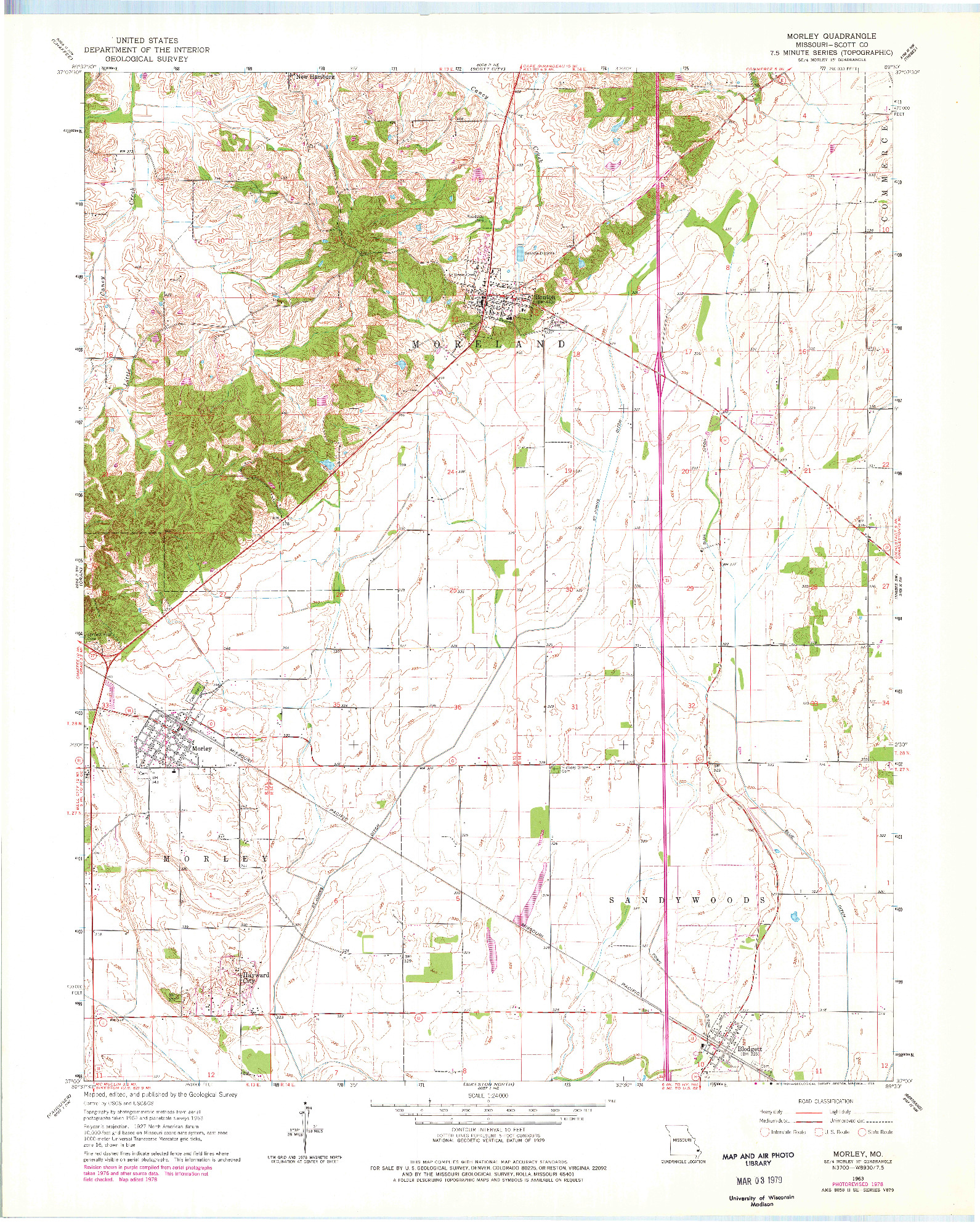USGS 1:24000-SCALE QUADRANGLE FOR MORLEY, MO 1963