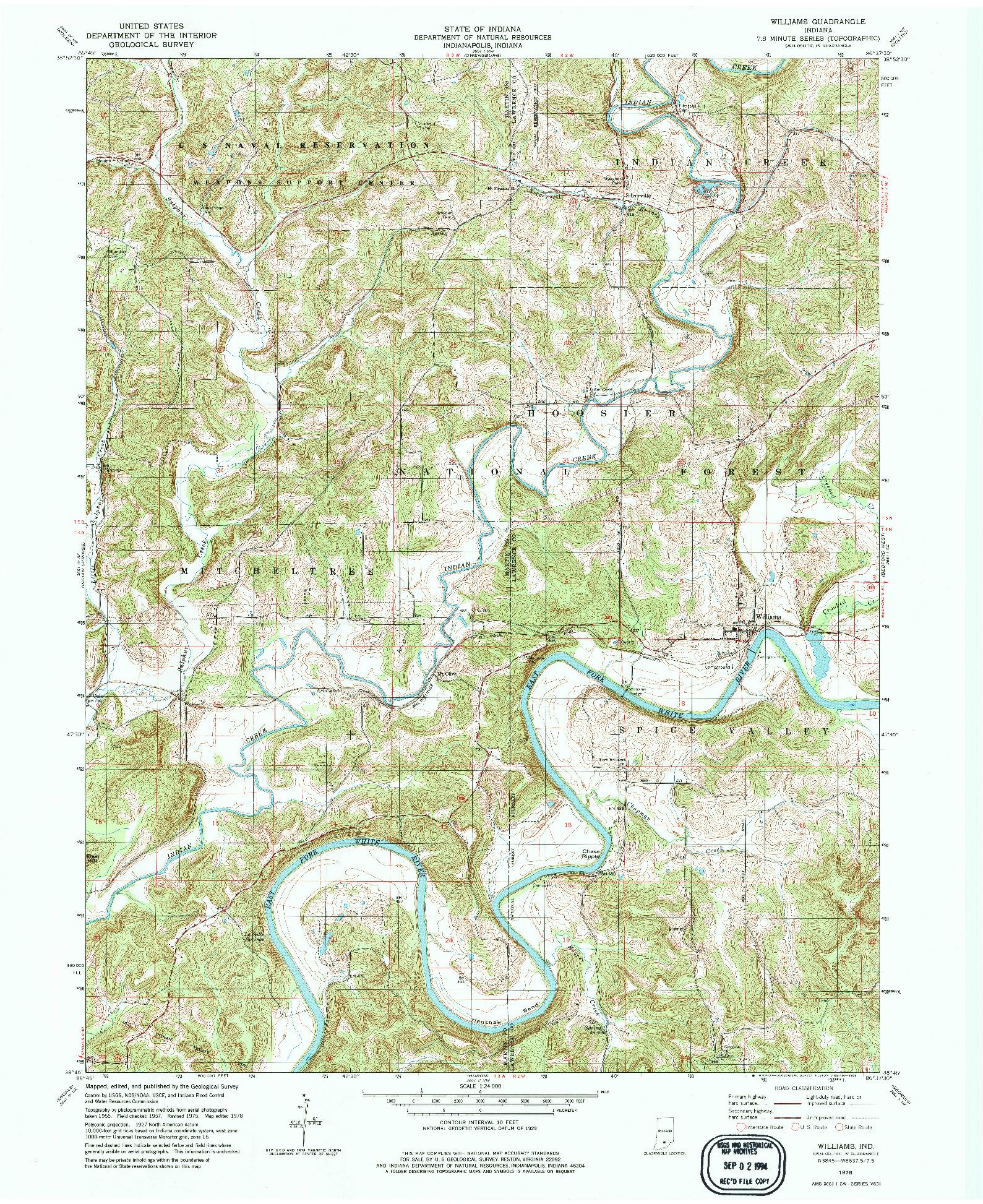 USGS 1:24000-SCALE QUADRANGLE FOR WILLIAMS, IN 1978