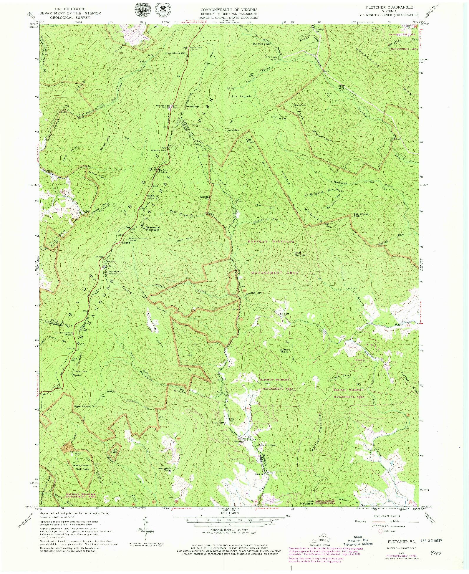 USGS 1:24000-SCALE QUADRANGLE FOR FLETCHER, VA 1965