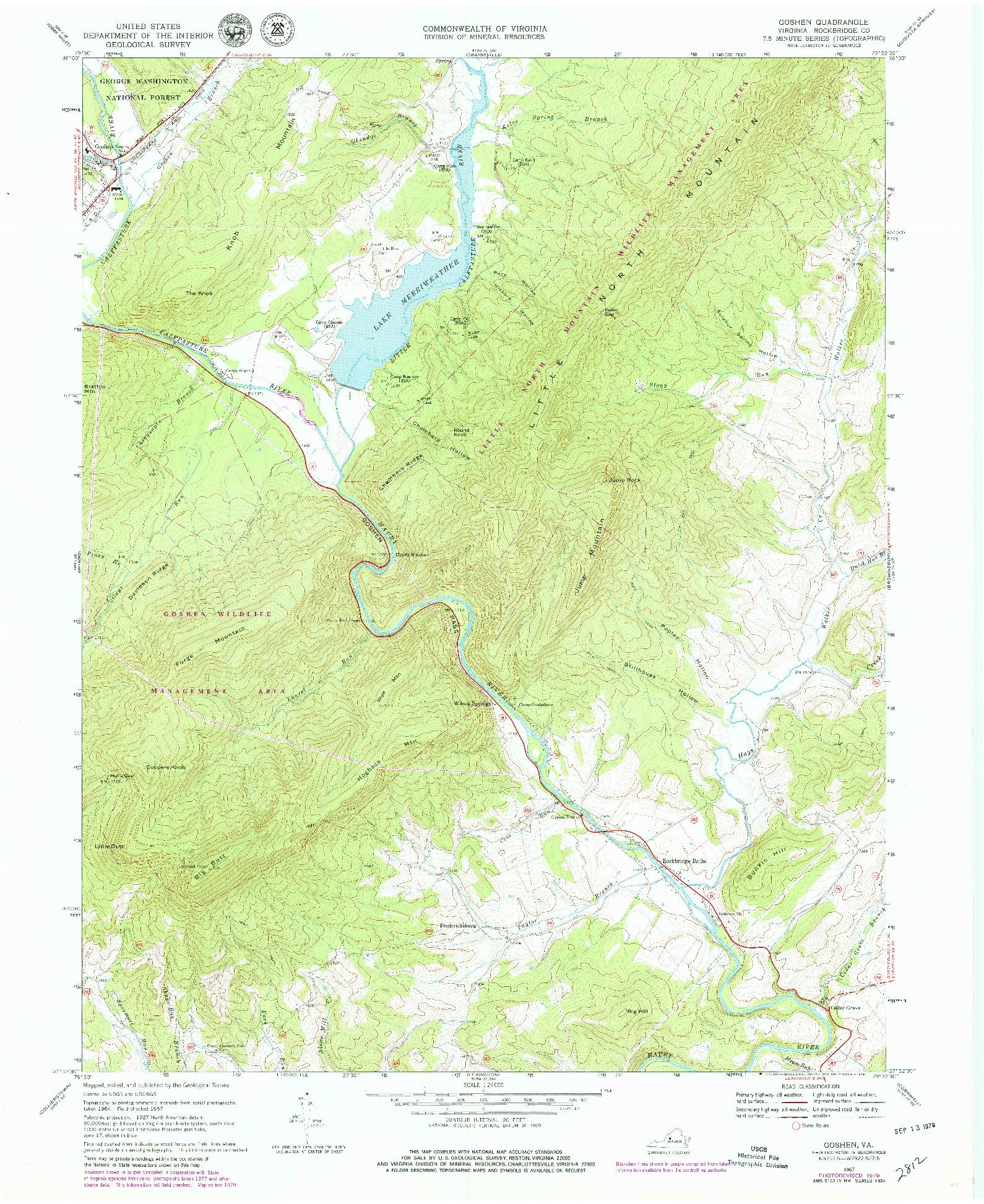 USGS 1:24000-SCALE QUADRANGLE FOR GOSHEN, VA 1967