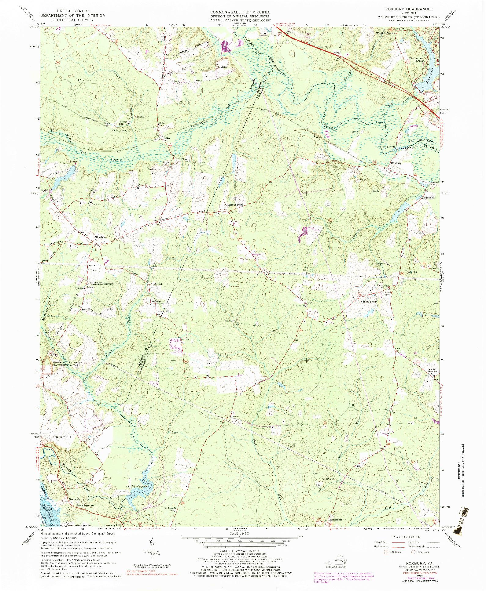 USGS 1:24000-SCALE QUADRANGLE FOR ROXBURY, VA 1965