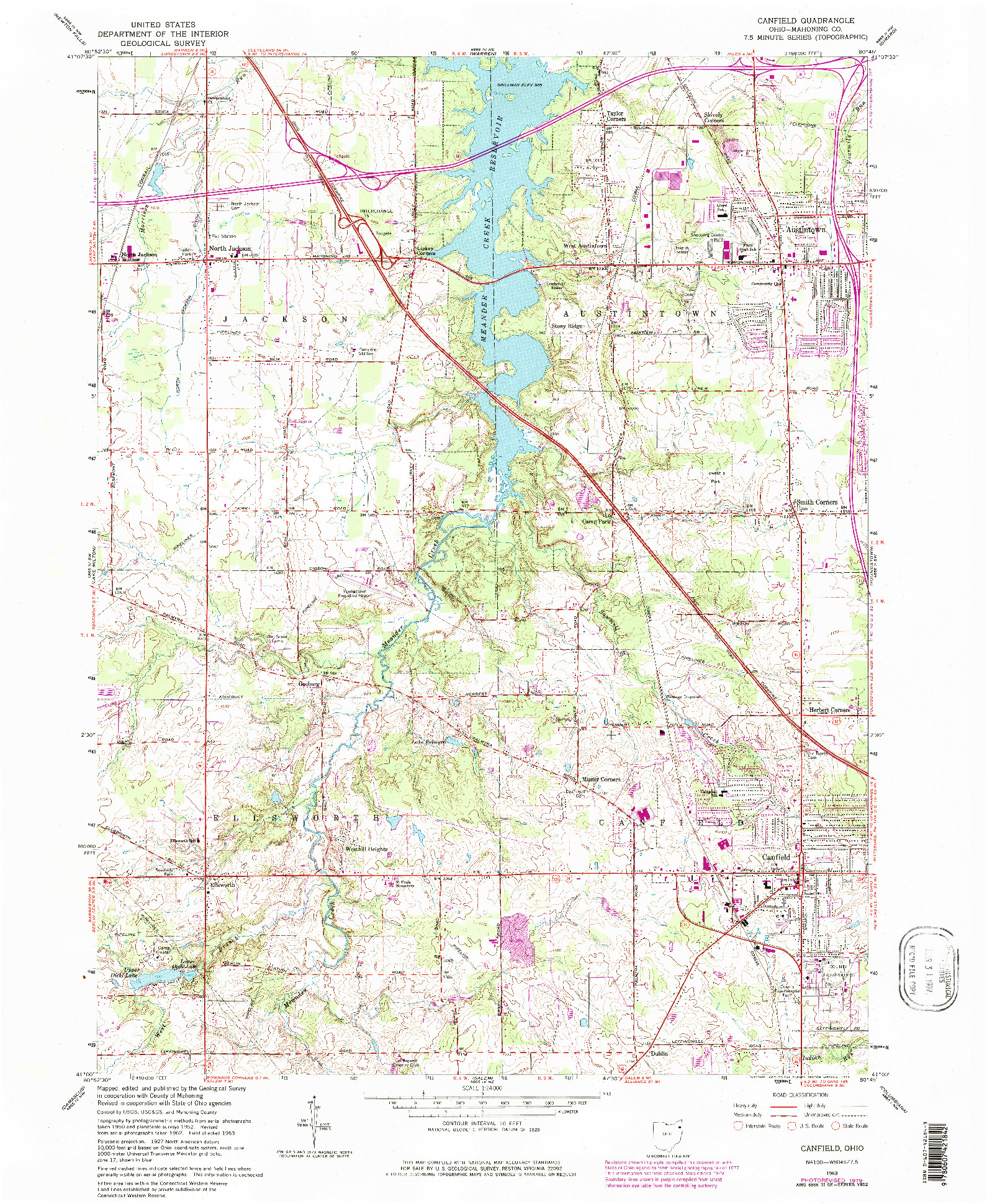 USGS 1:24000-SCALE QUADRANGLE FOR CANFIELD, OH 1963