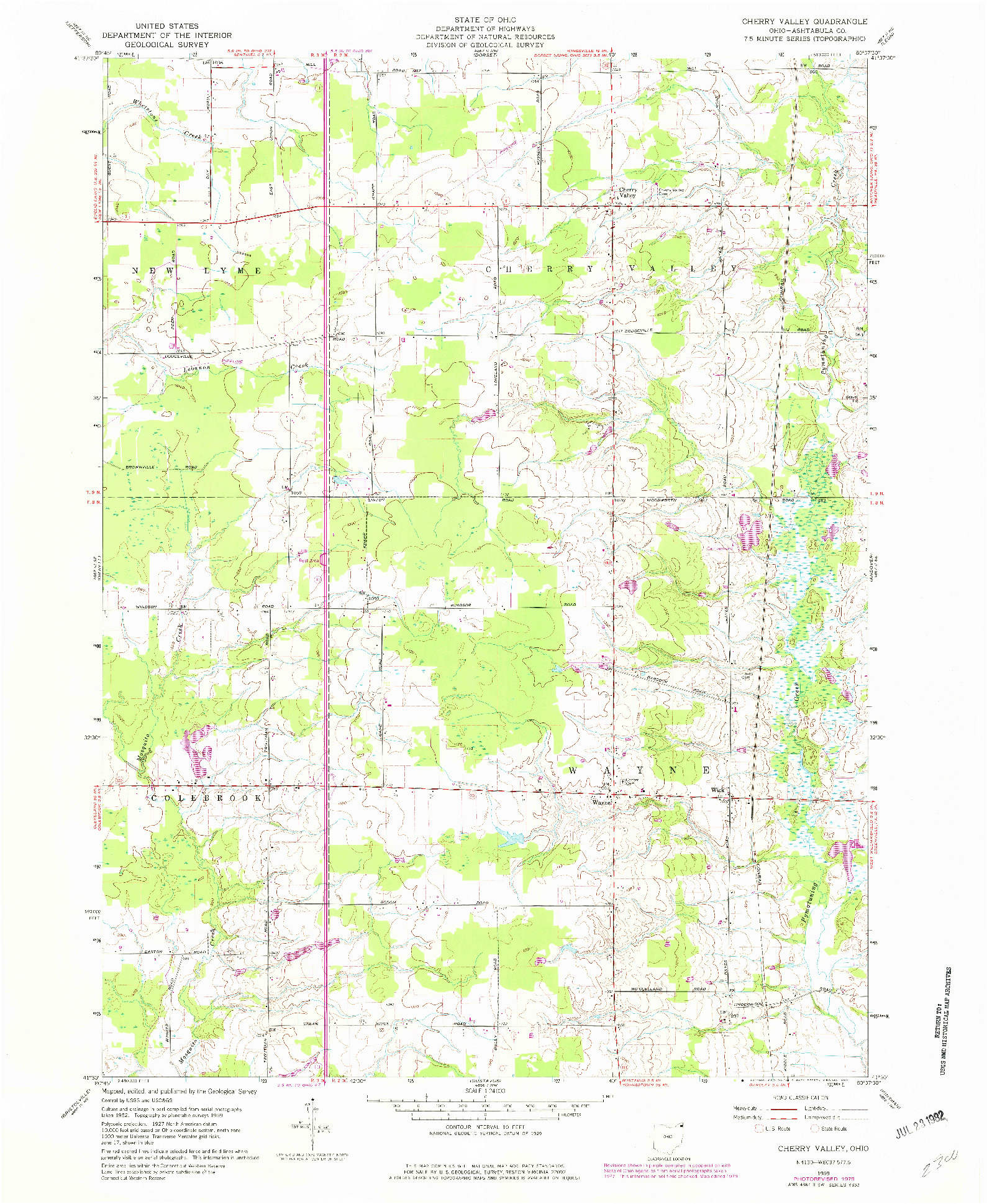 USGS 1:24000-SCALE QUADRANGLE FOR CHERRY VALLEY, OH 1959