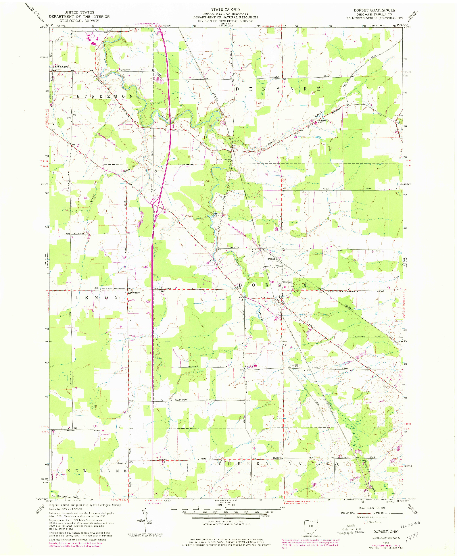 USGS 1:24000-SCALE QUADRANGLE FOR DORSET, OH 1959
