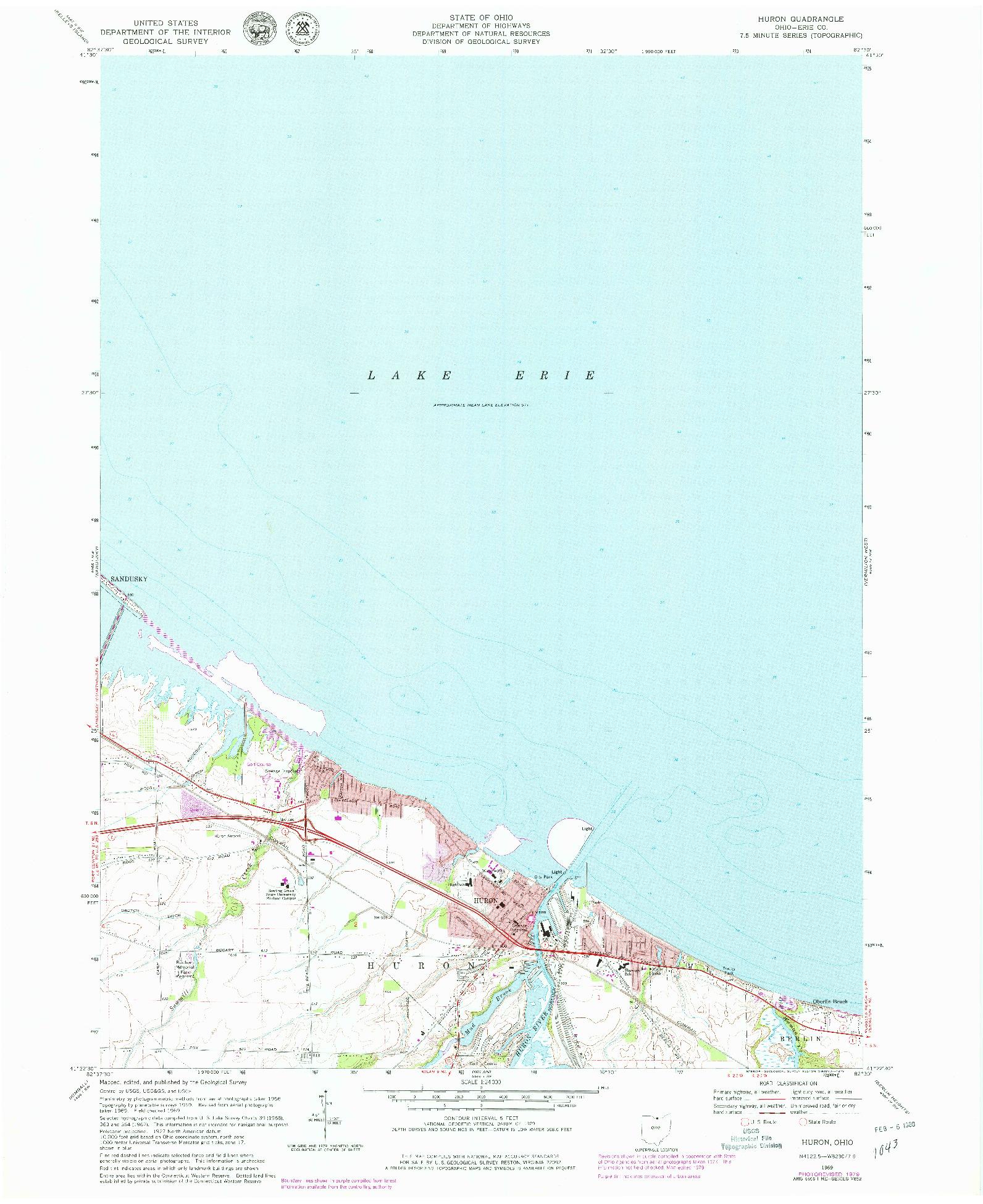 USGS 1:24000-SCALE QUADRANGLE FOR HURON, OH 1969