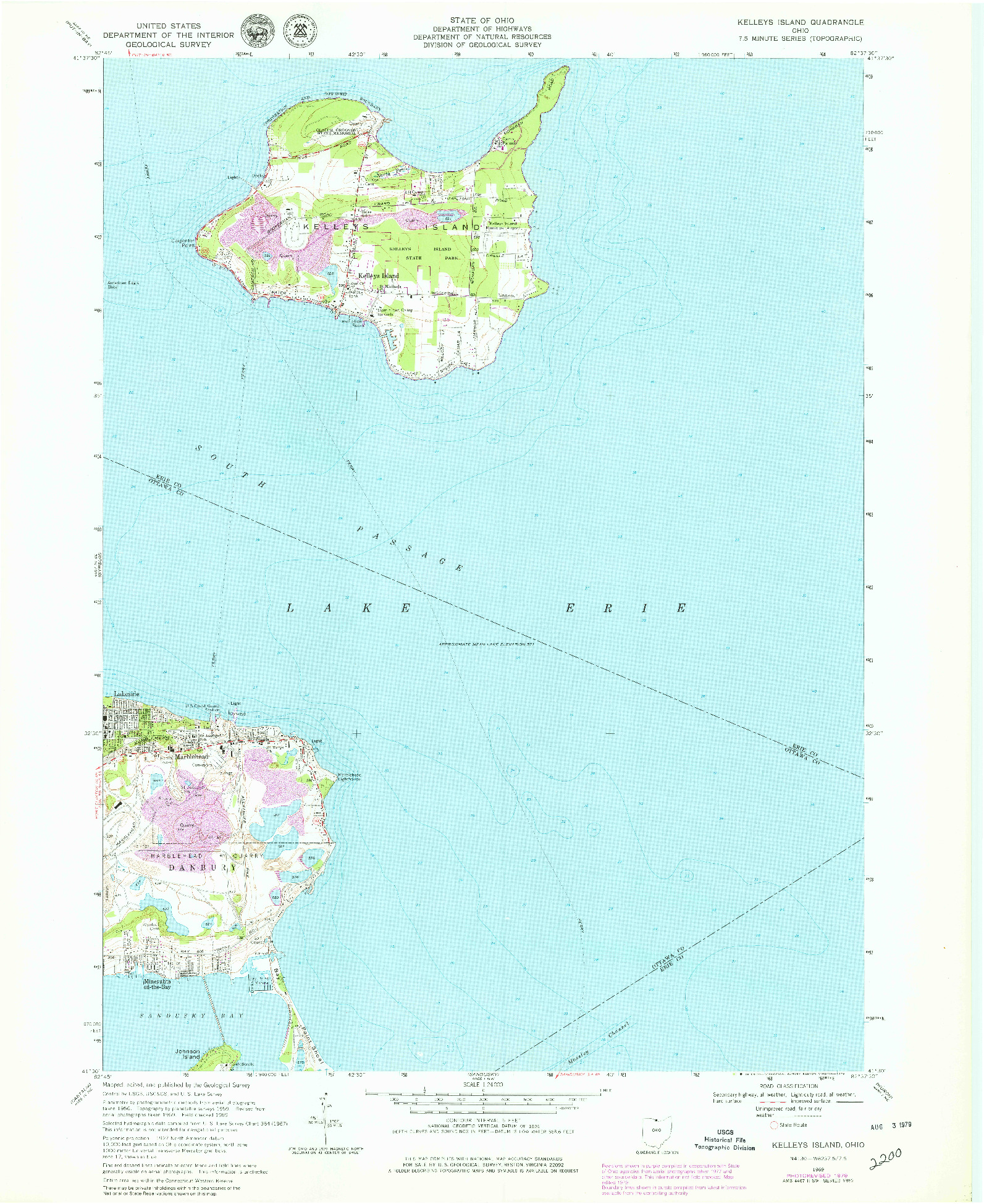 USGS 1:24000-SCALE QUADRANGLE FOR KELLEYS ISLAND, OH 1969